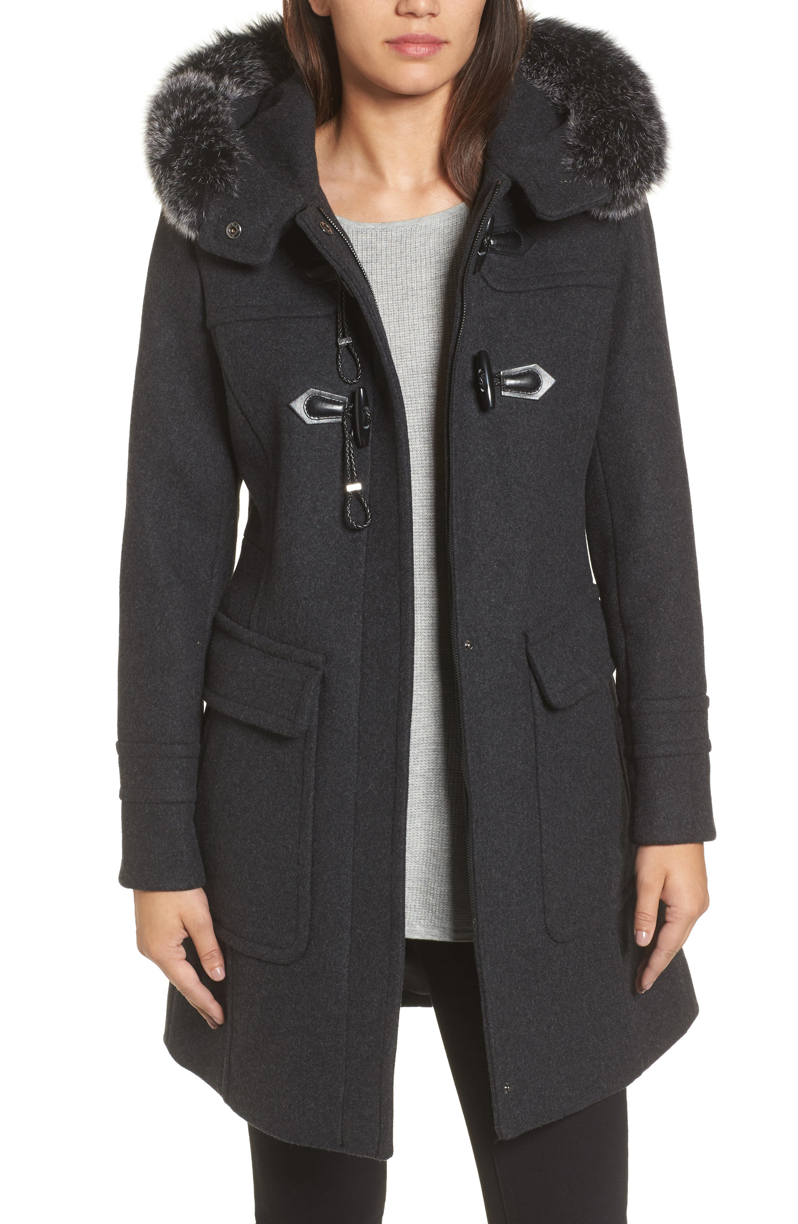 Connie Duffle Coat with Genuine Fox Fur,                             Main thumbnail 1, color,                             Charcoal