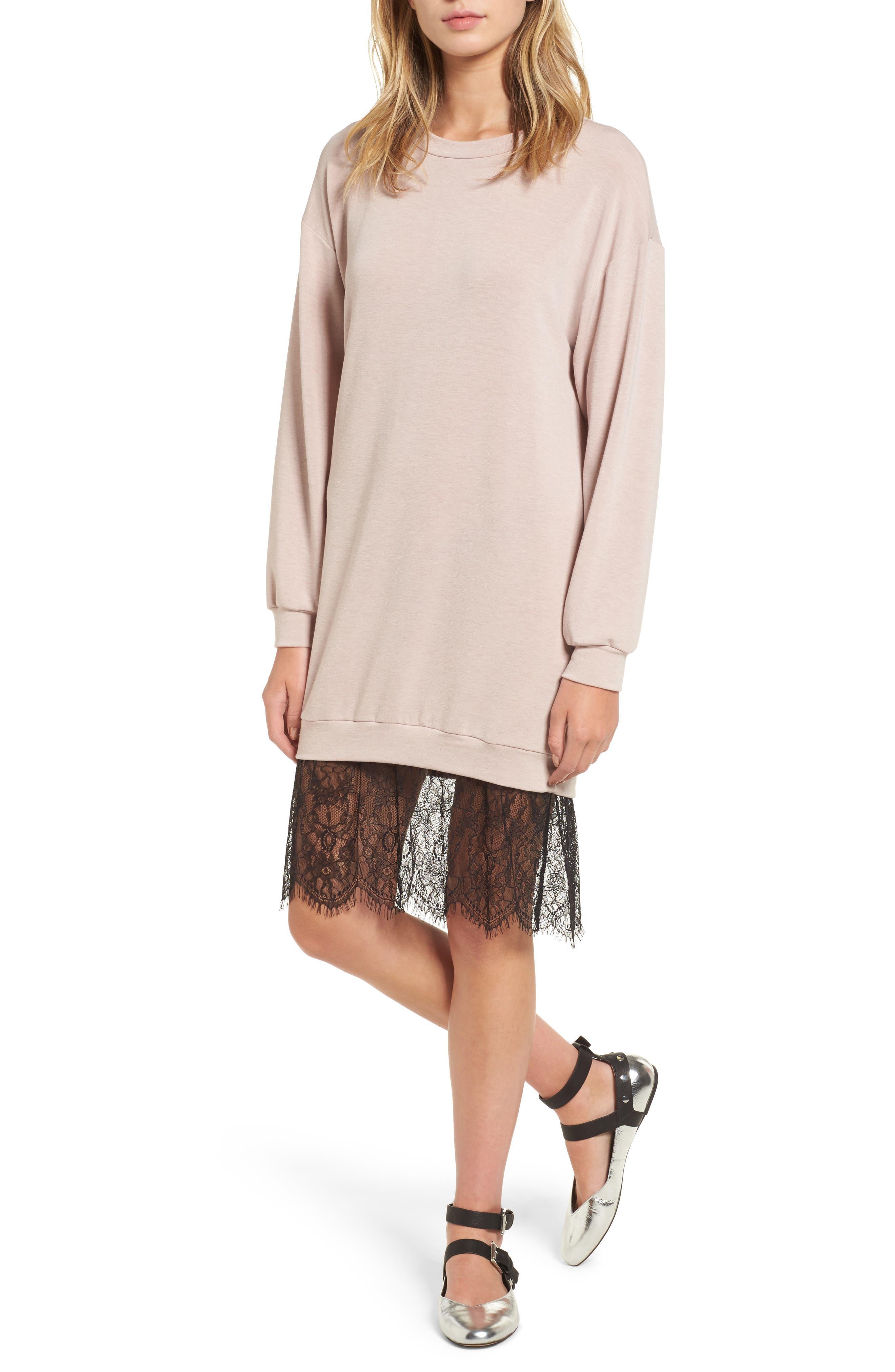 Lush Lace Hem Sweatshirt Dress