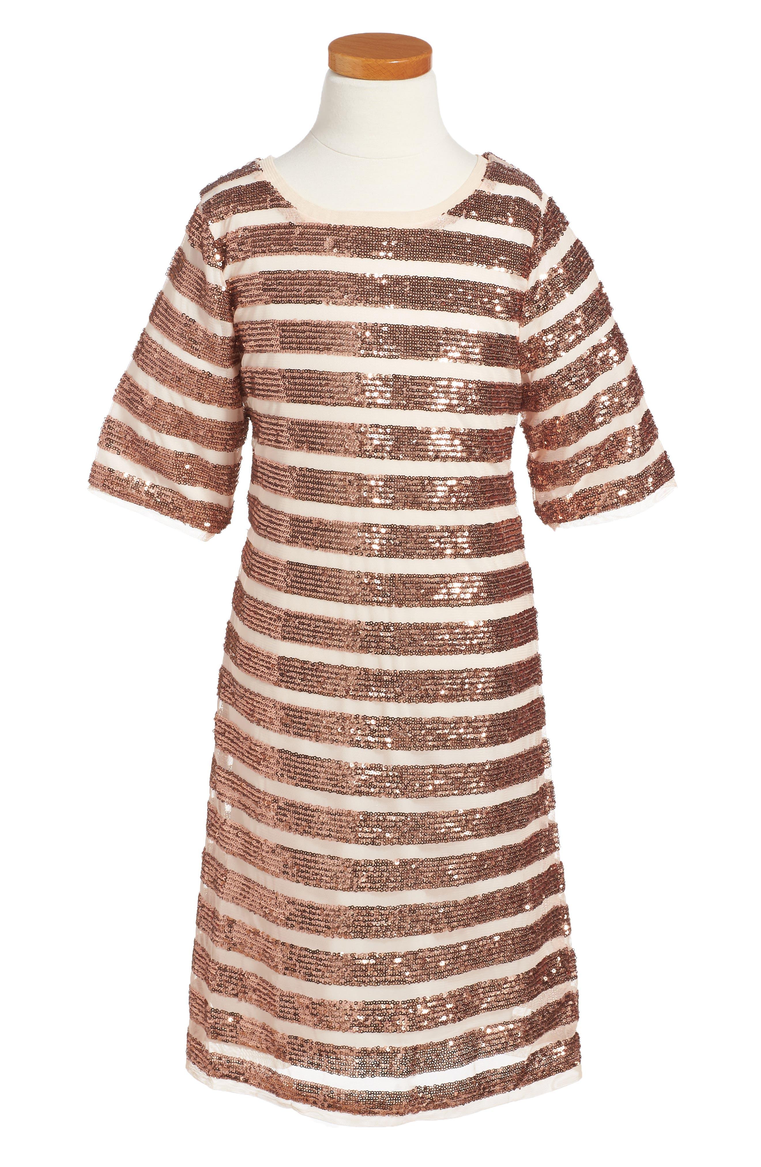 Alexa Sequin Dress,                         Main,                         color, Copper