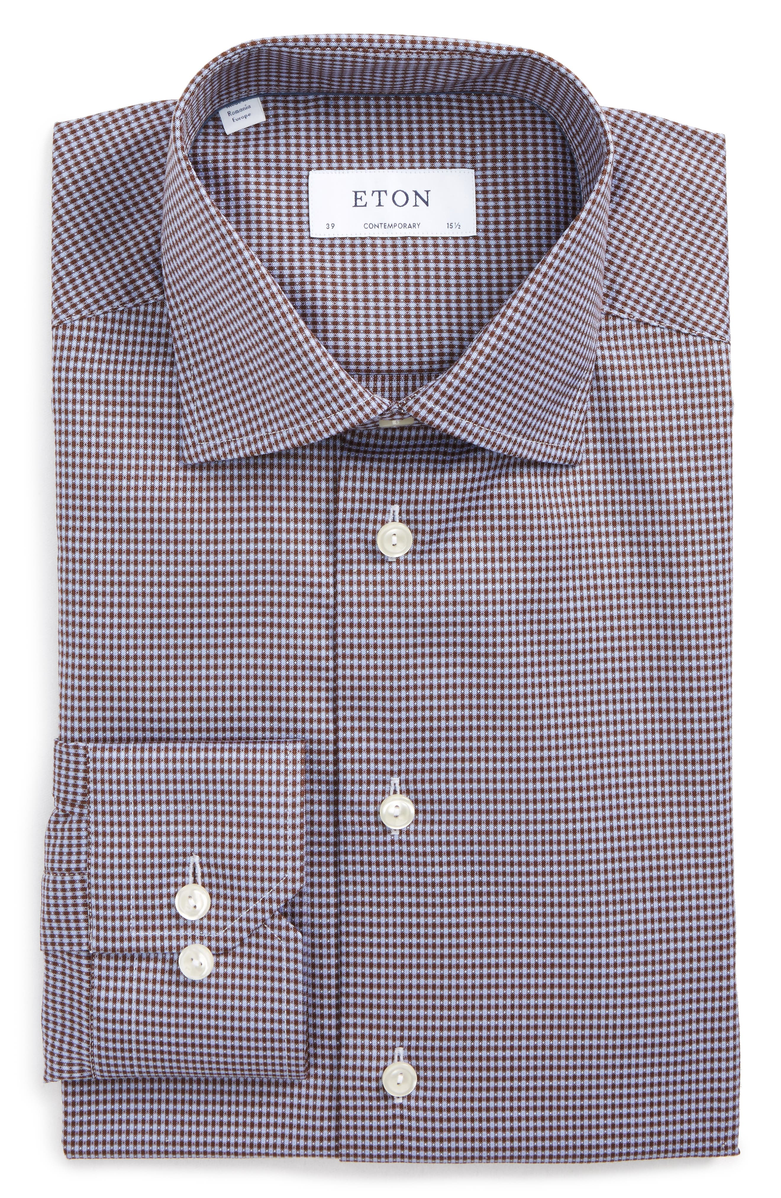 Eton Contemporary Fit Microcheck Dress Shirt