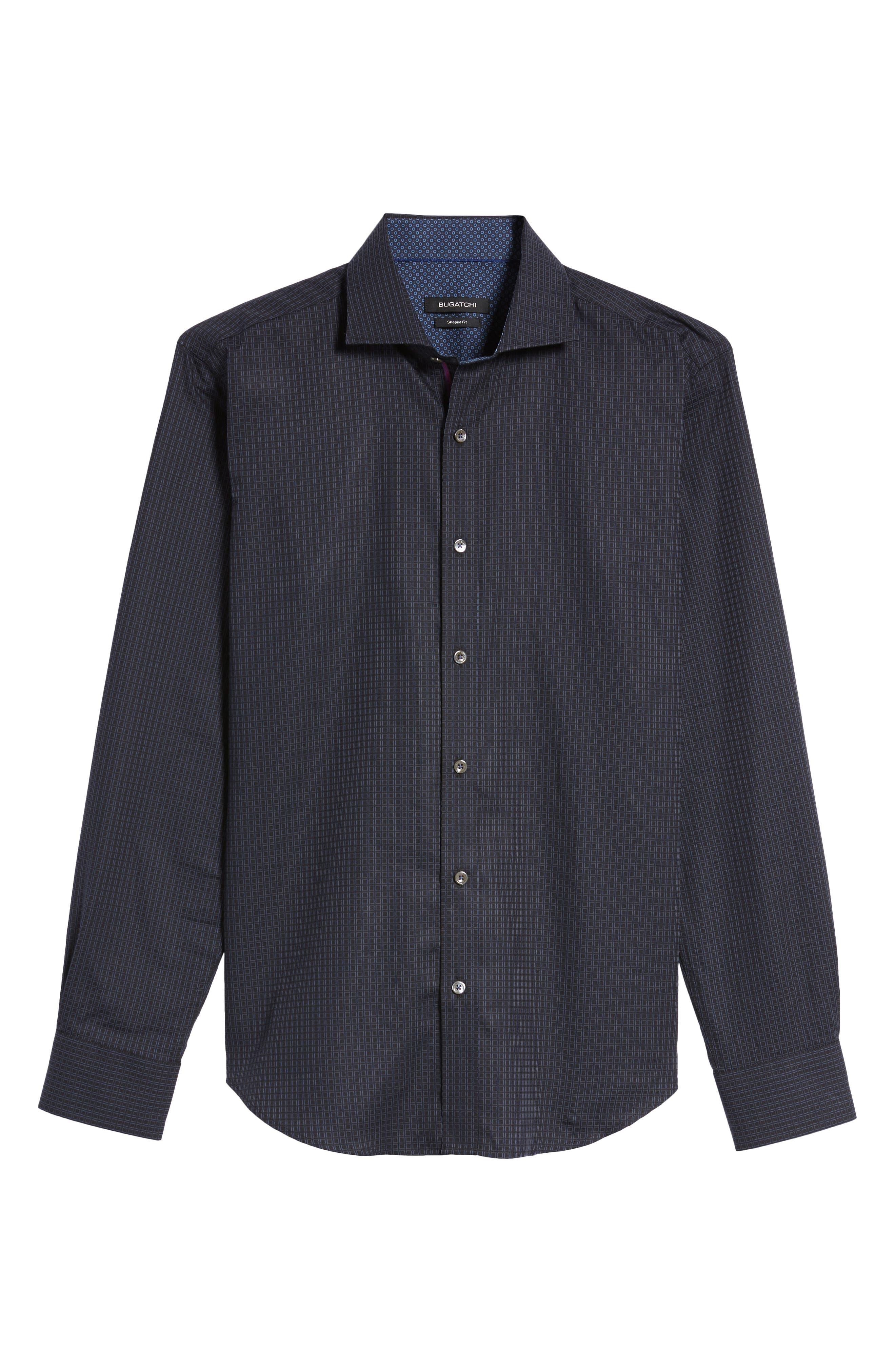 Trim Fit Box Print Sport Shirt,                             Alternate thumbnail 6, color,                             Black