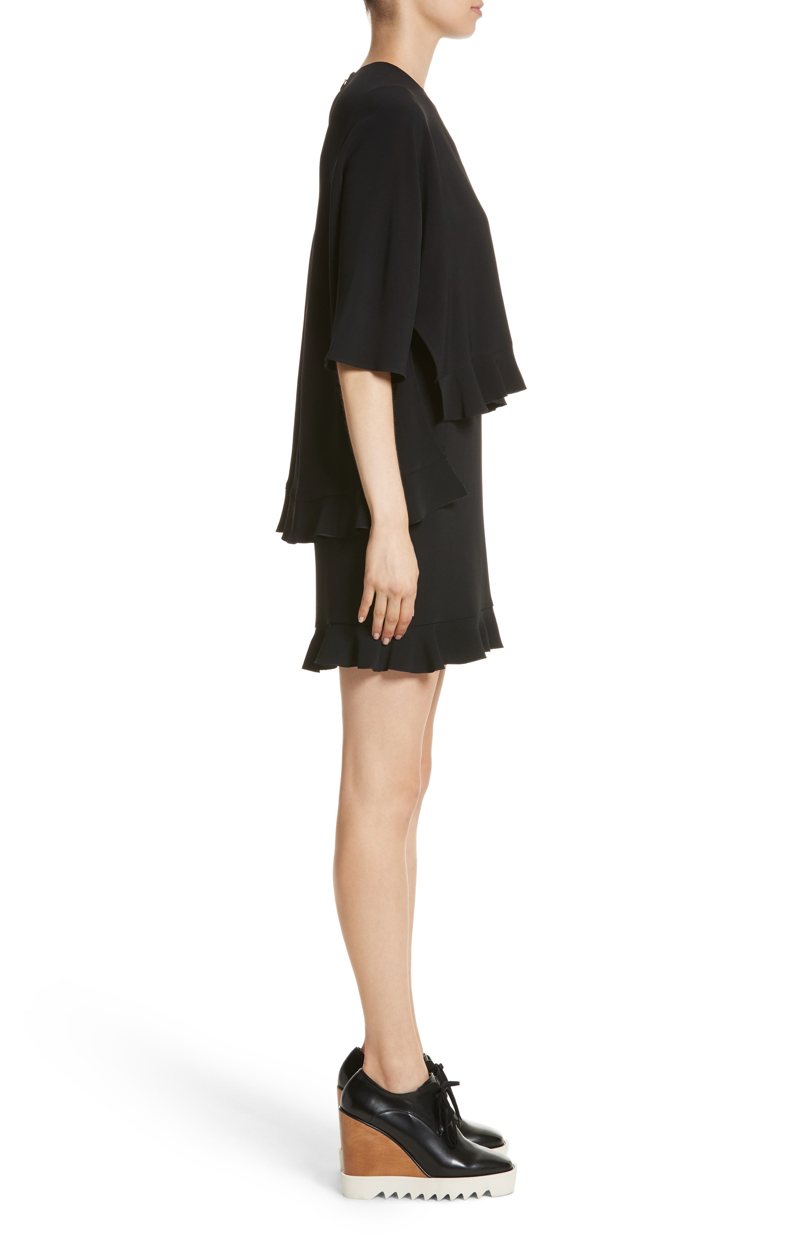 Ruffle Overlay Stretch Cady Dress,                             Alternate thumbnail 3, color,                             Black