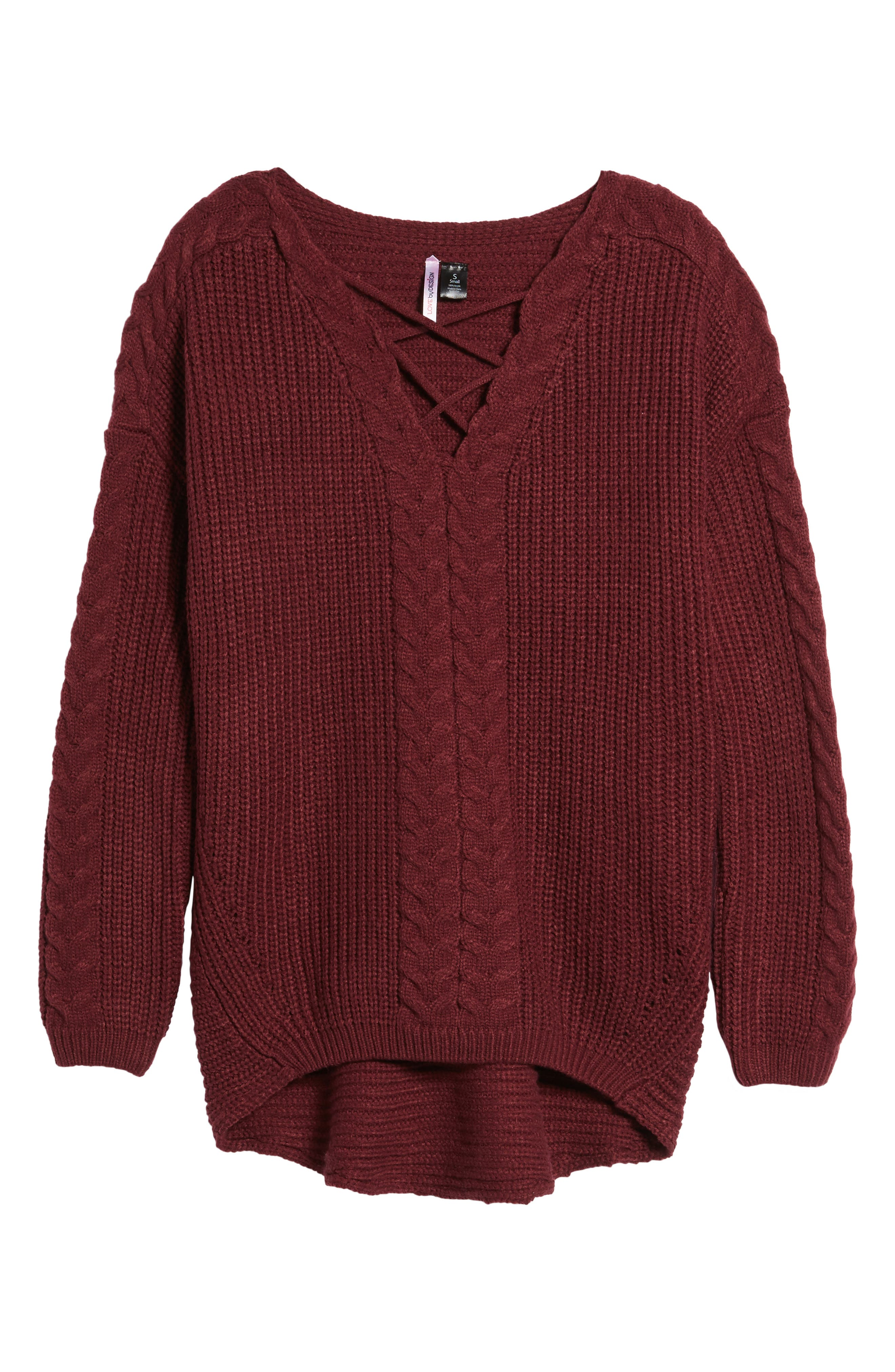 Cross Front Braided Sweater,                             Alternate thumbnail 6, color,                             Zinfandel