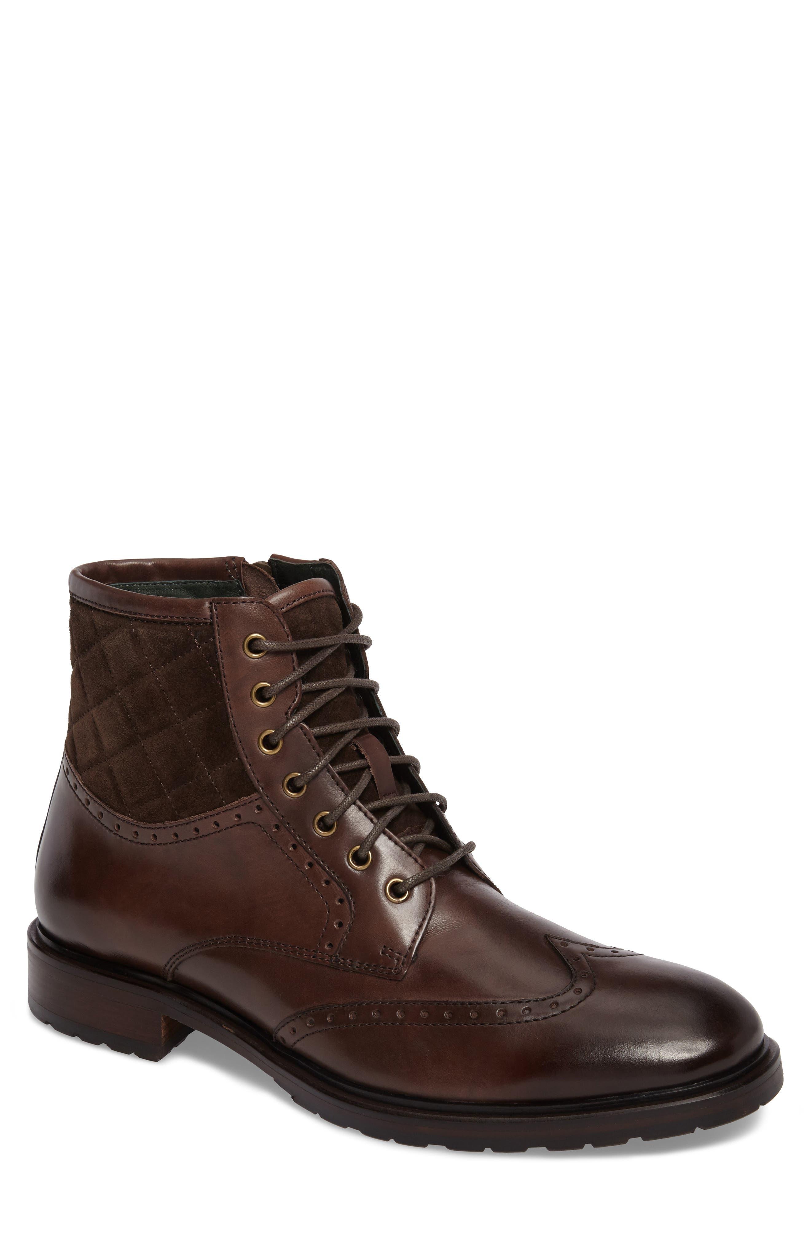 Myles Wingtip Boot,                             Main thumbnail 1, color,                             Mahogany Leather