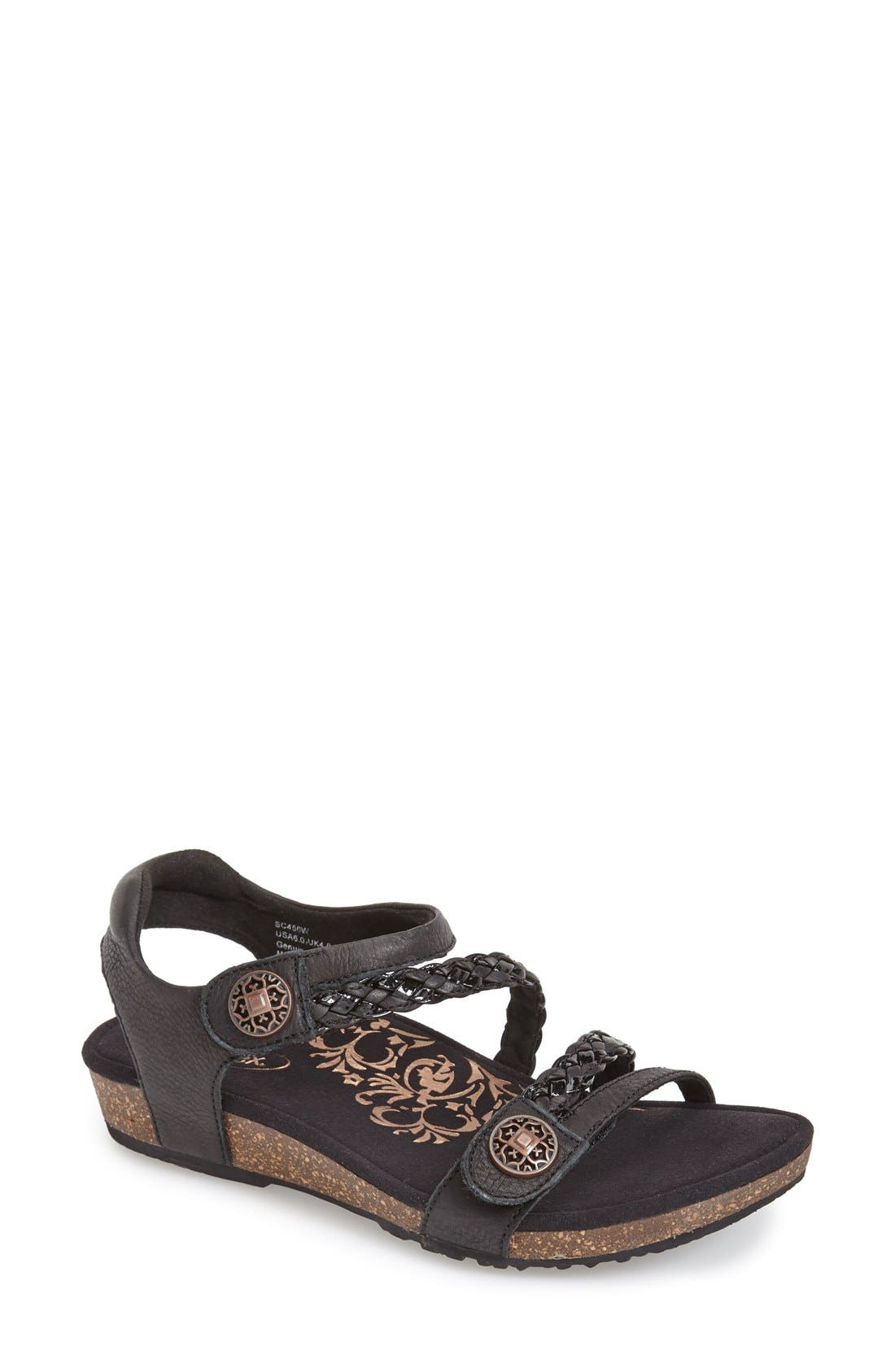 Aetrex 'Jillian' Braided Leather Strap Sandal (Women)