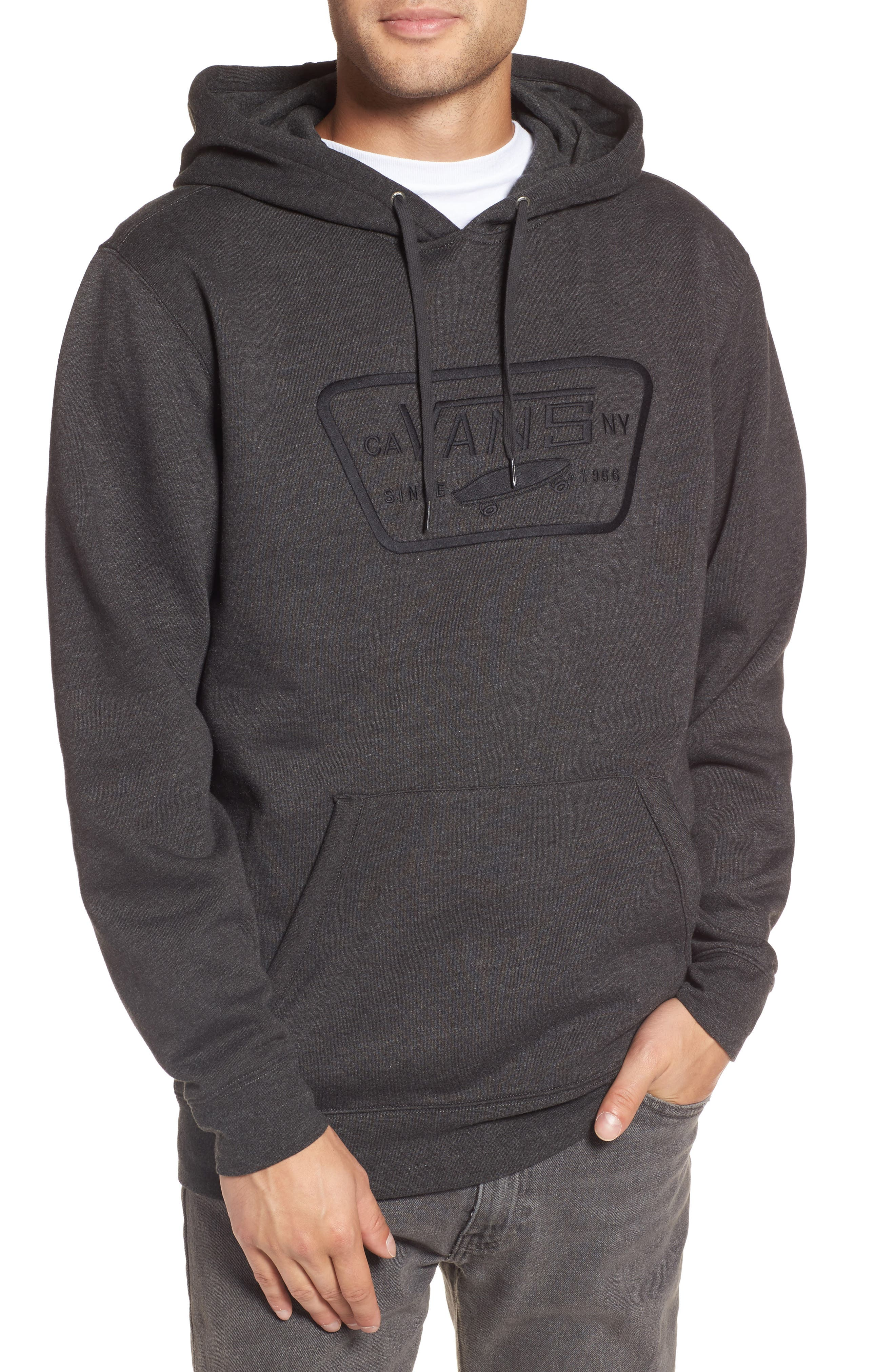 Full Patch Stitch Hoodie,                         Main,                         color, Black Heather