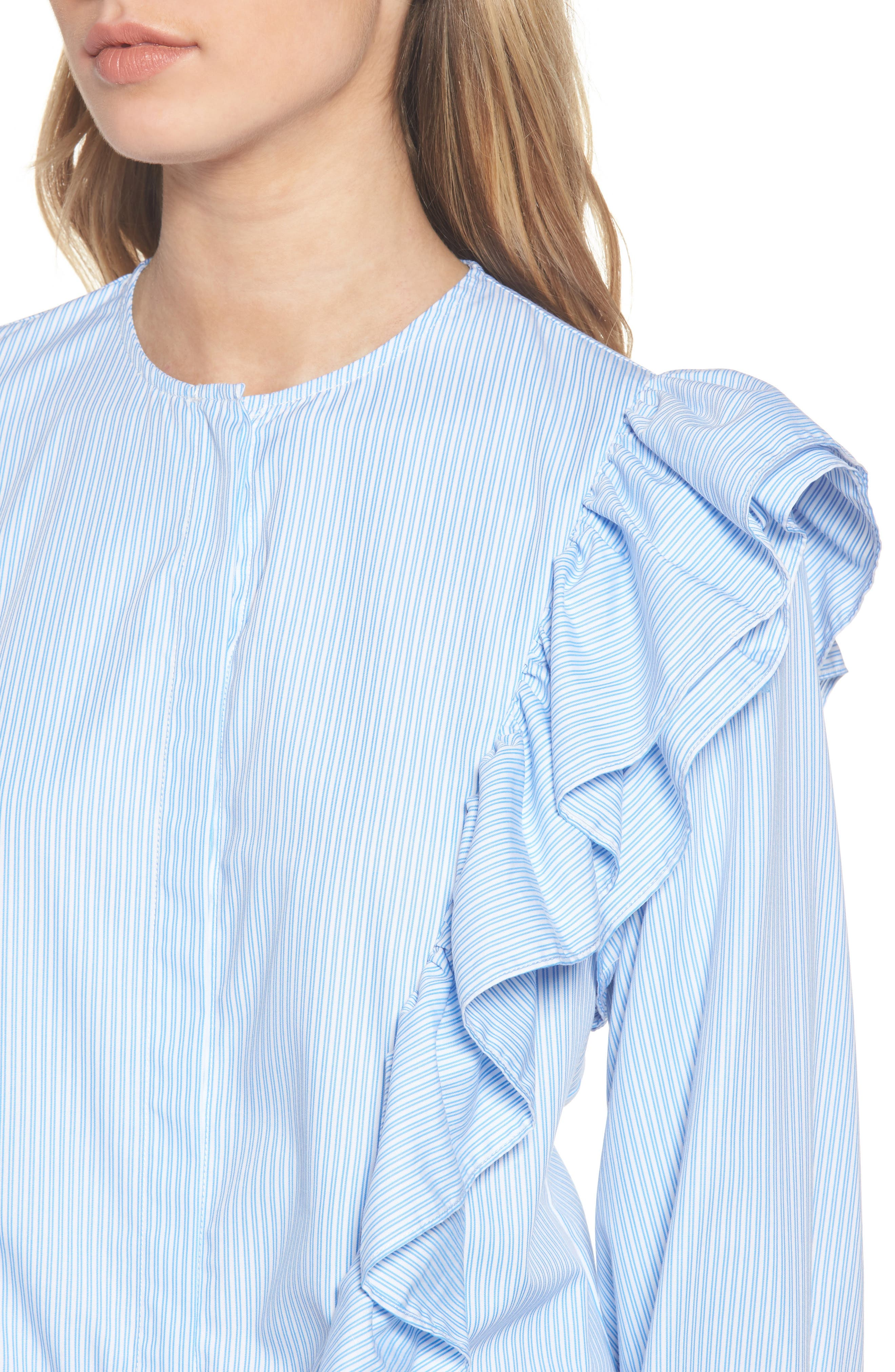 Girl Meets Boy Ruffle Top,                             Alternate thumbnail 5, color,                             Striped Blue