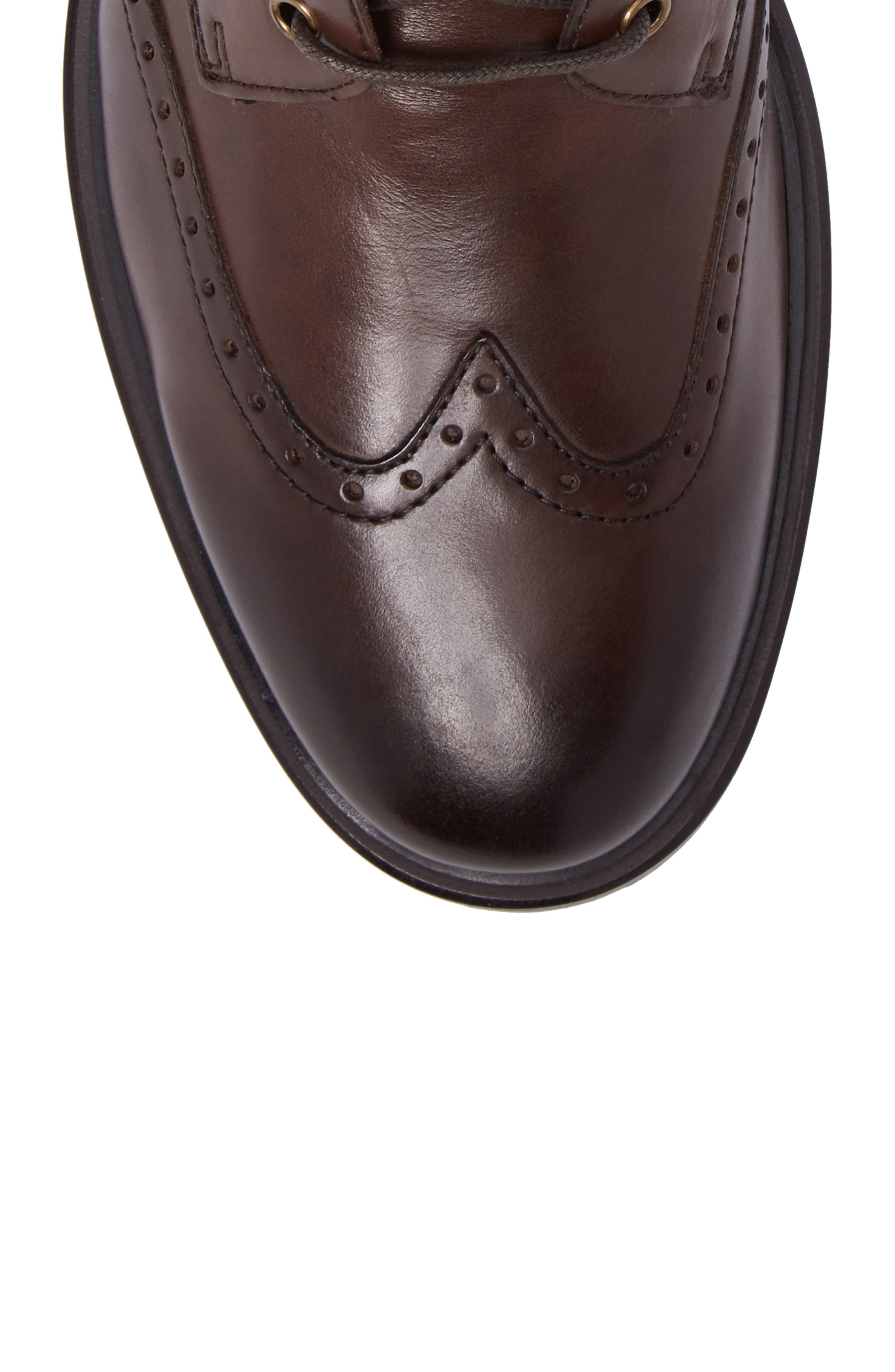 Myles Wingtip Boot,                             Alternate thumbnail 5, color,                             Mahogany Leather