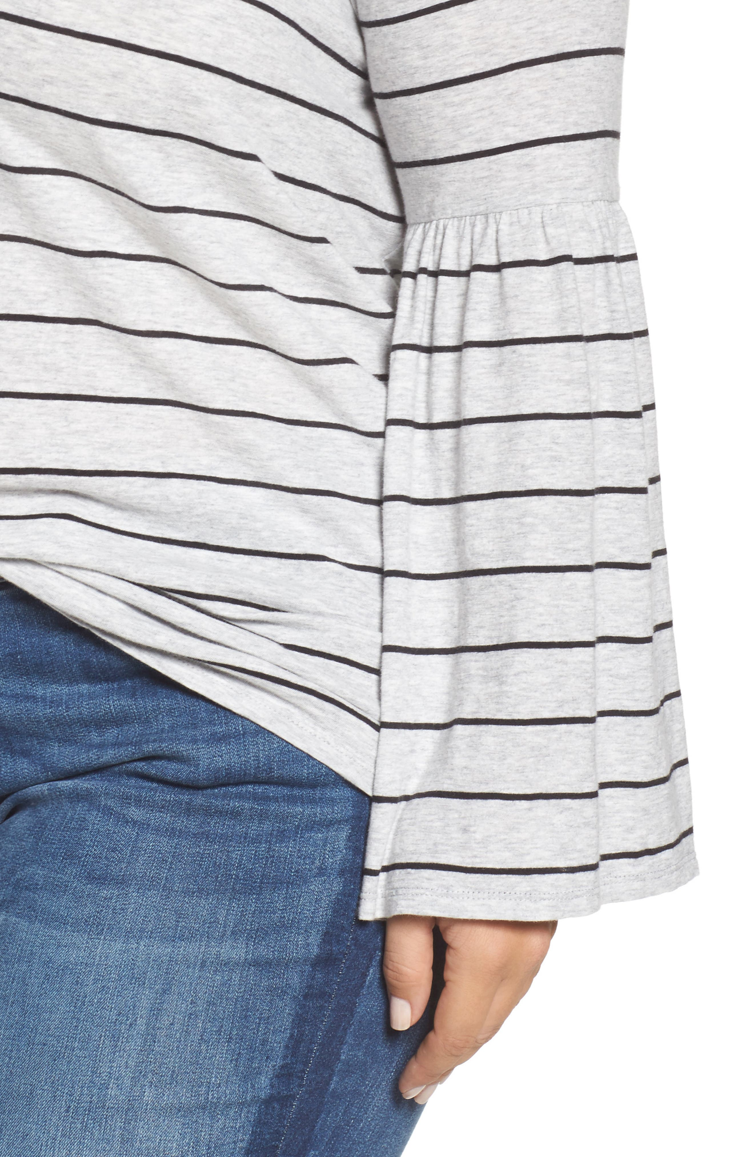 Alternate Image 4  - Two by Vince Camuto Nova Stripe Bell Sleeve Top (Plus Size)