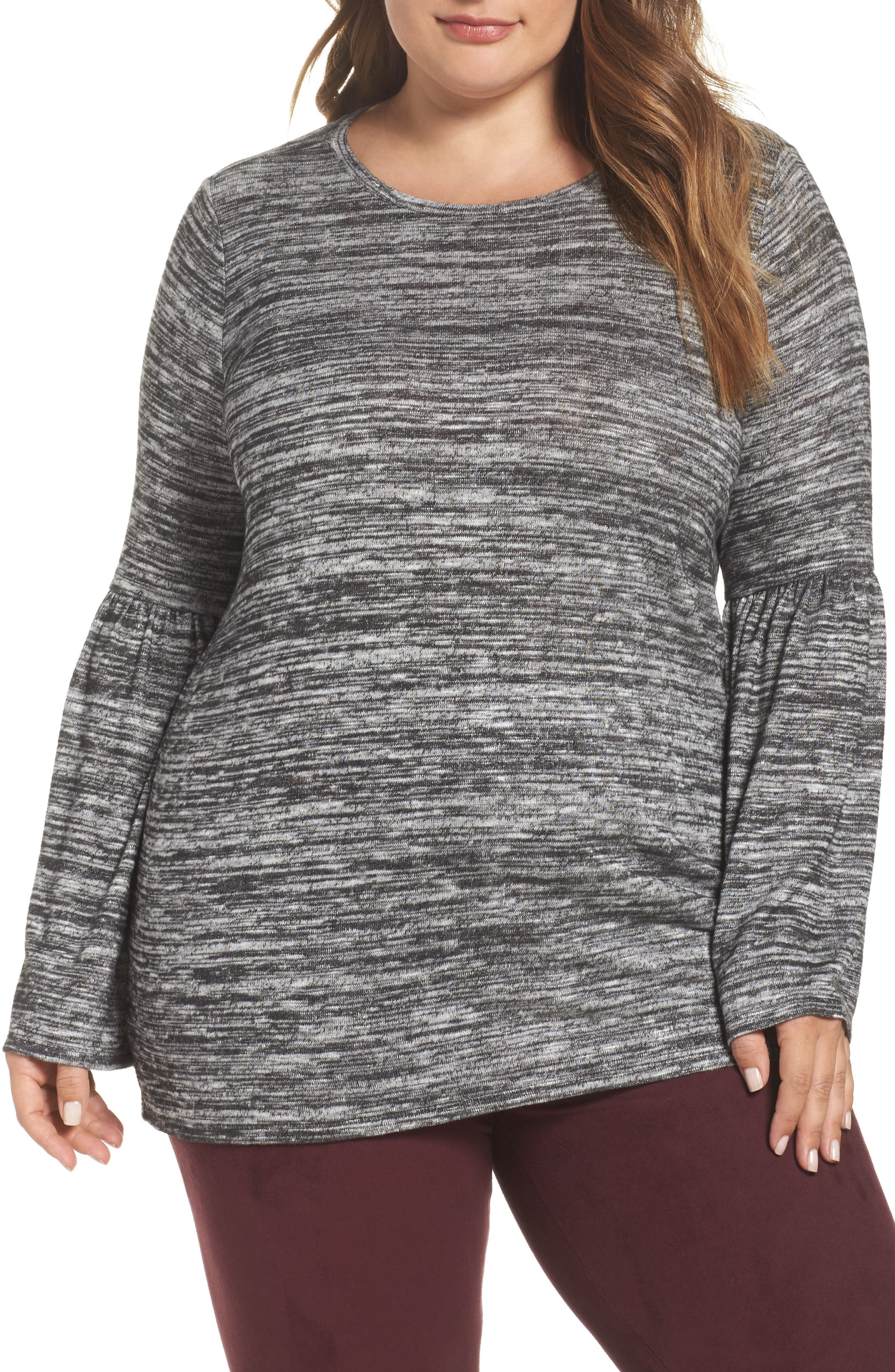 Ruched Bell Sleeve Sweater,                         Main,                         color, Grey