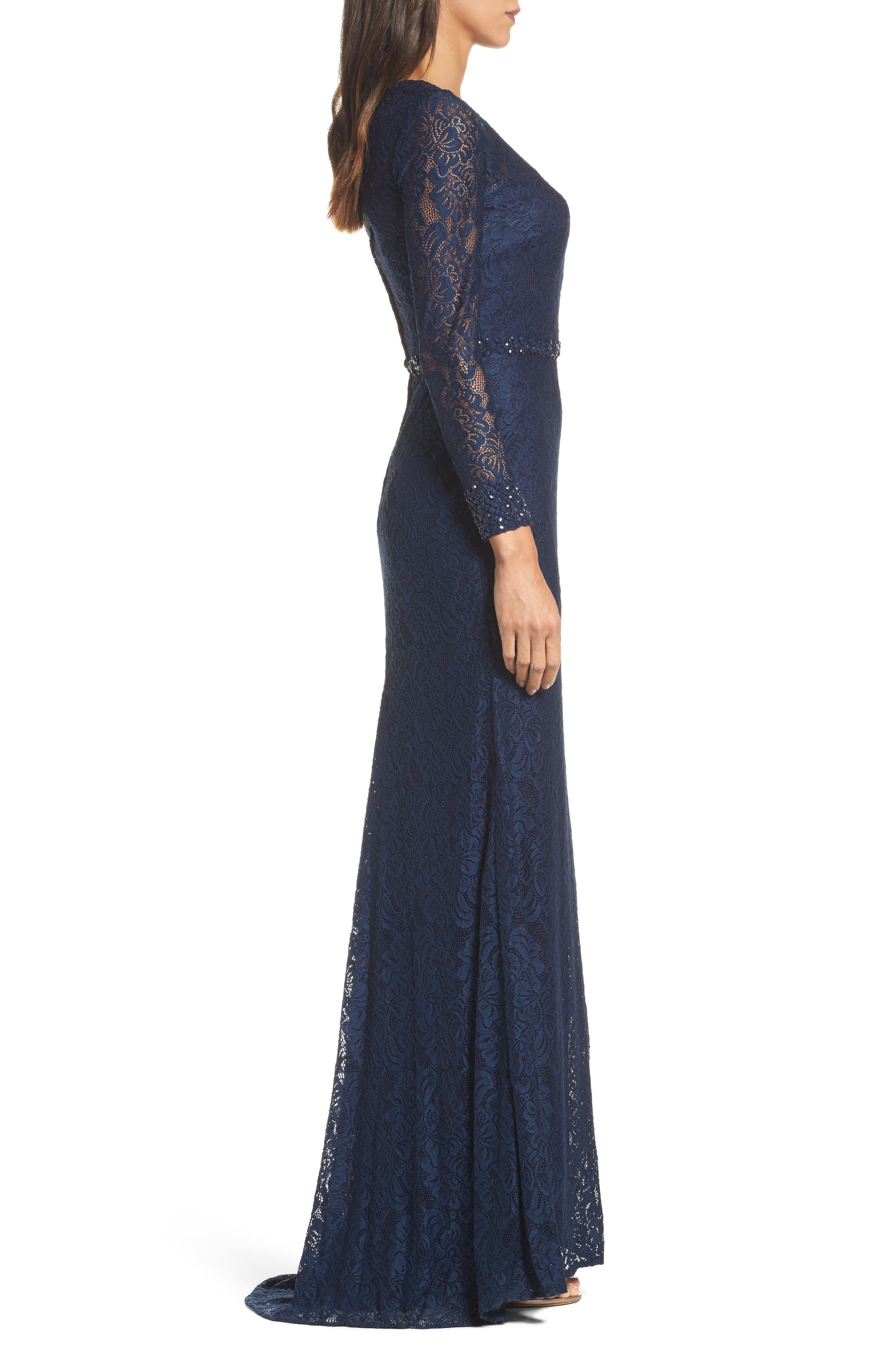 Alternate Image 3  - La Femme Embellished Lace Gown