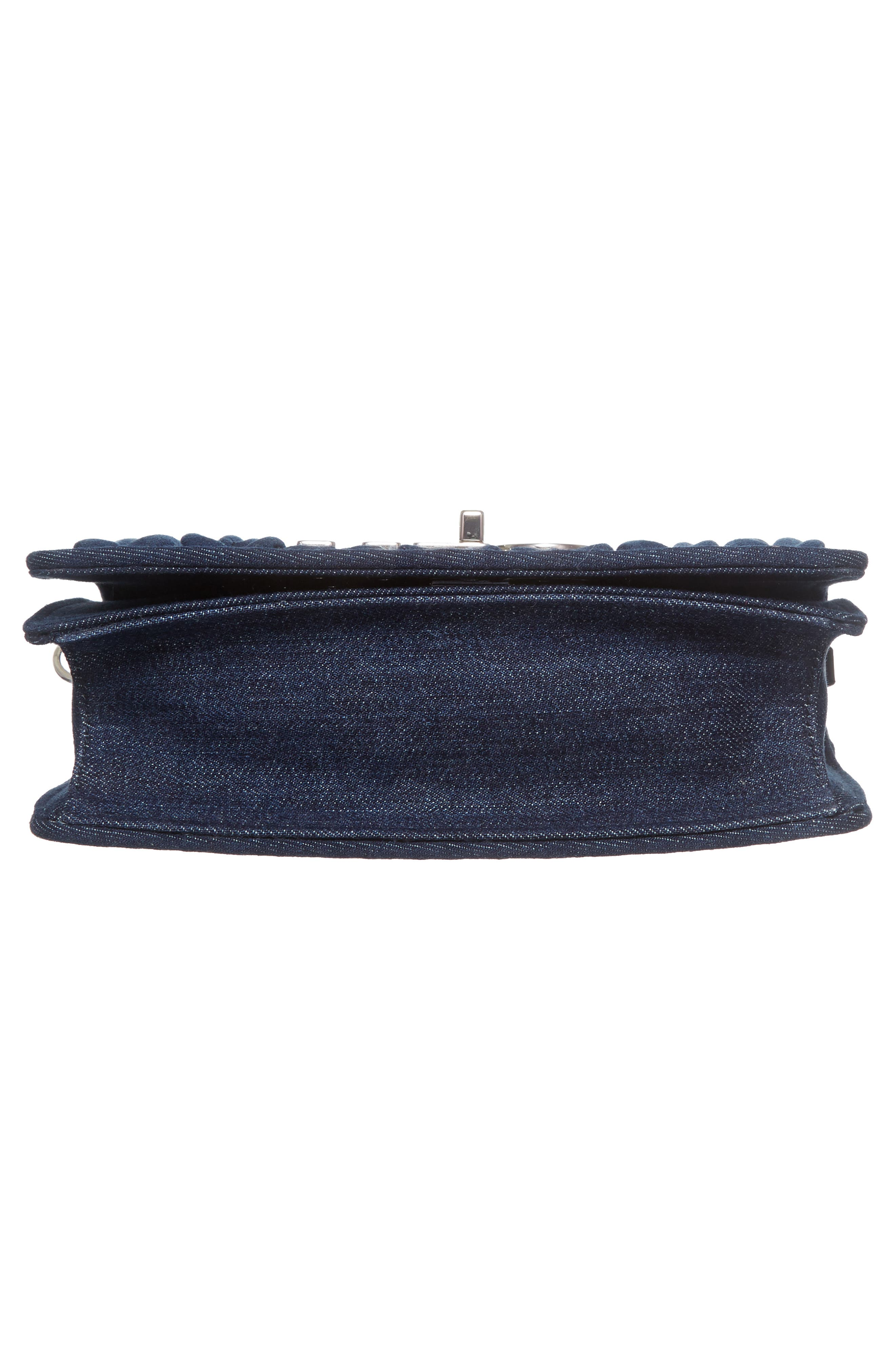 Matelassé Denim Crossbody Clutch,                             Alternate thumbnail 5, color,                             Bleu