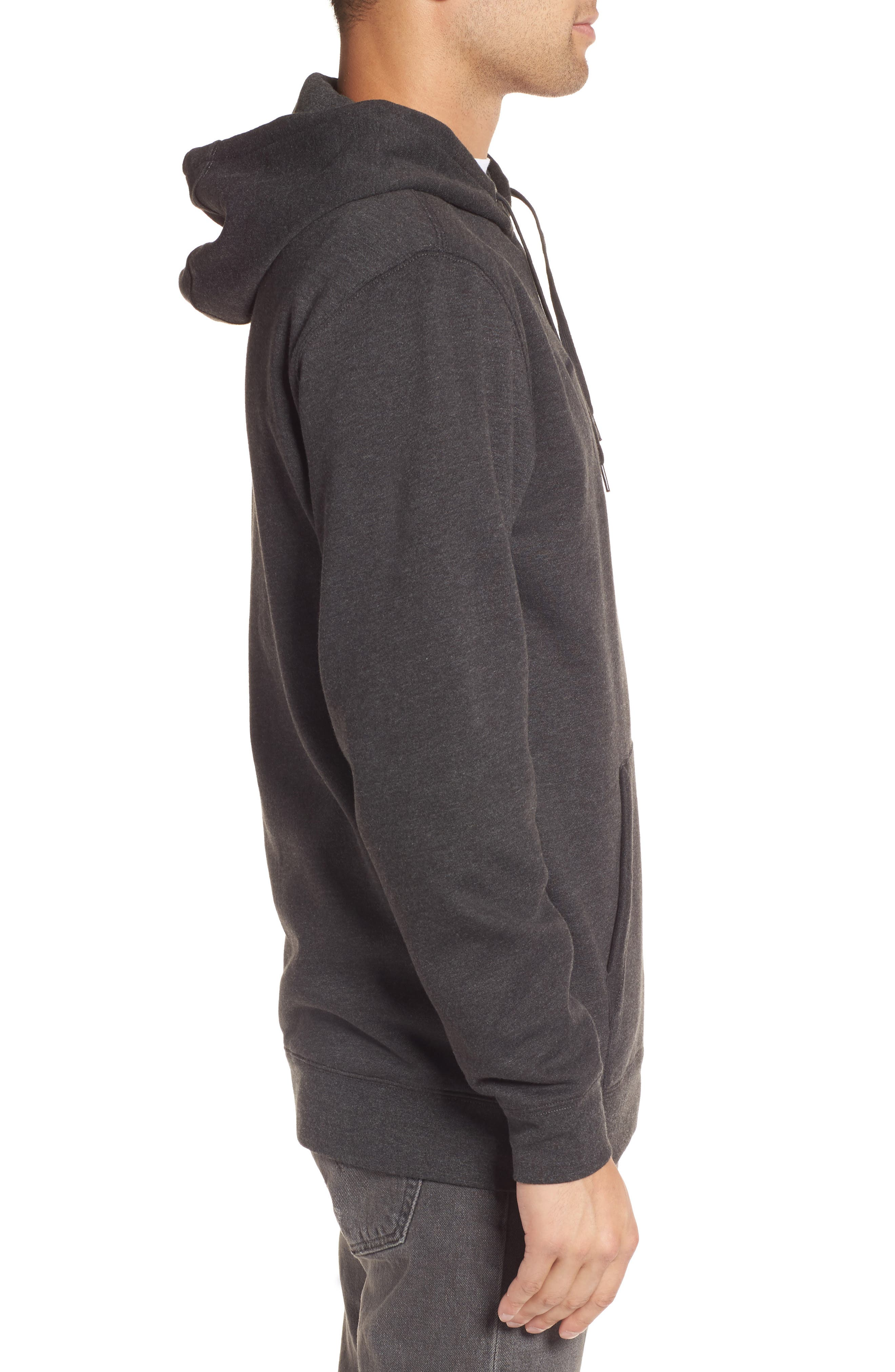 Full Patch Stitch Hoodie,                             Alternate thumbnail 3, color,                             Black Heather