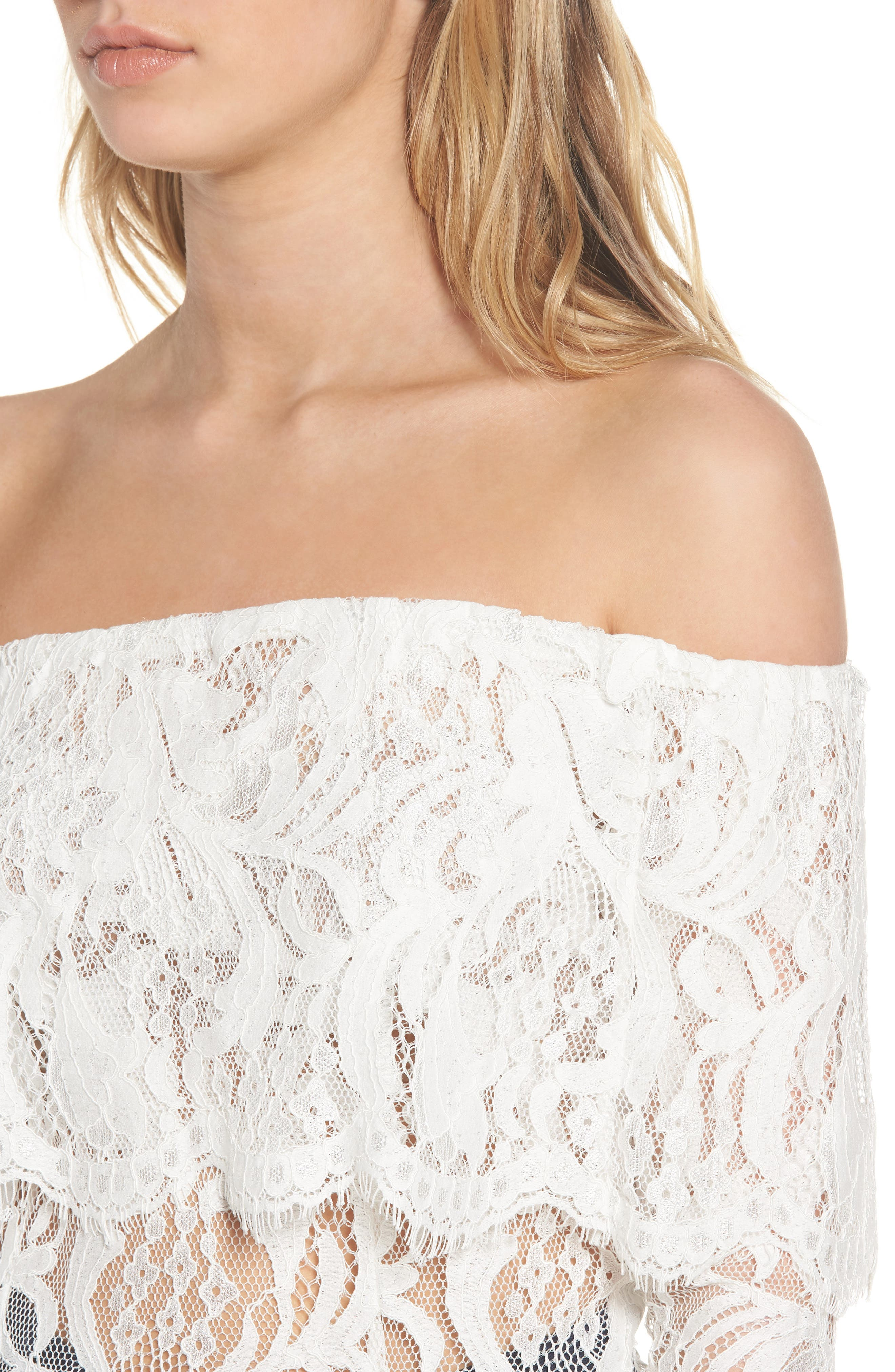 If You Dare Lace Off the Shoulder Blouse,                             Alternate thumbnail 4, color,                             Ivory