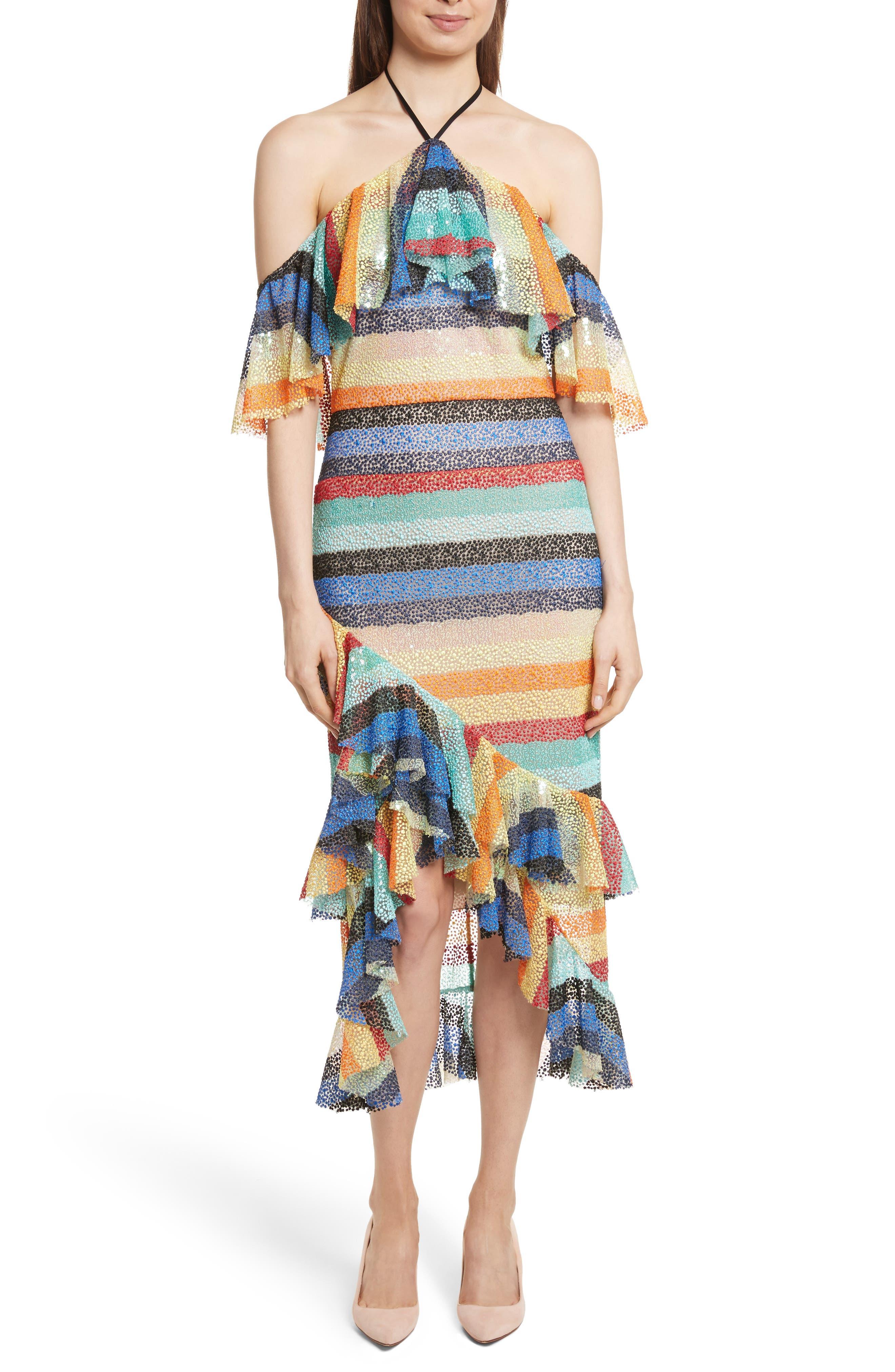 Main Image - Alice + Olivia Annabeth Off the Shoulder Midi Dress