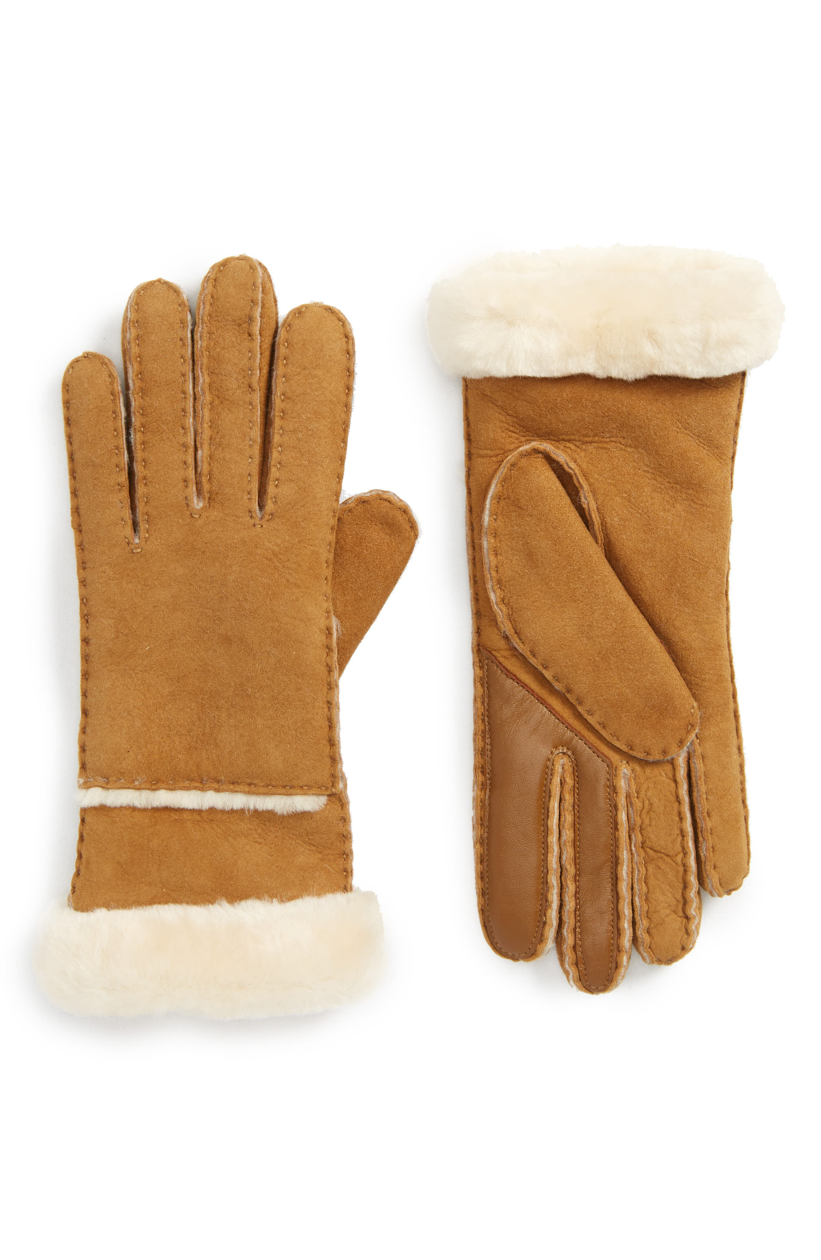 UGG<sup>®</sup> Slim Genuine Shearling Tech Gloves,                         Main,                         color, Chestnut