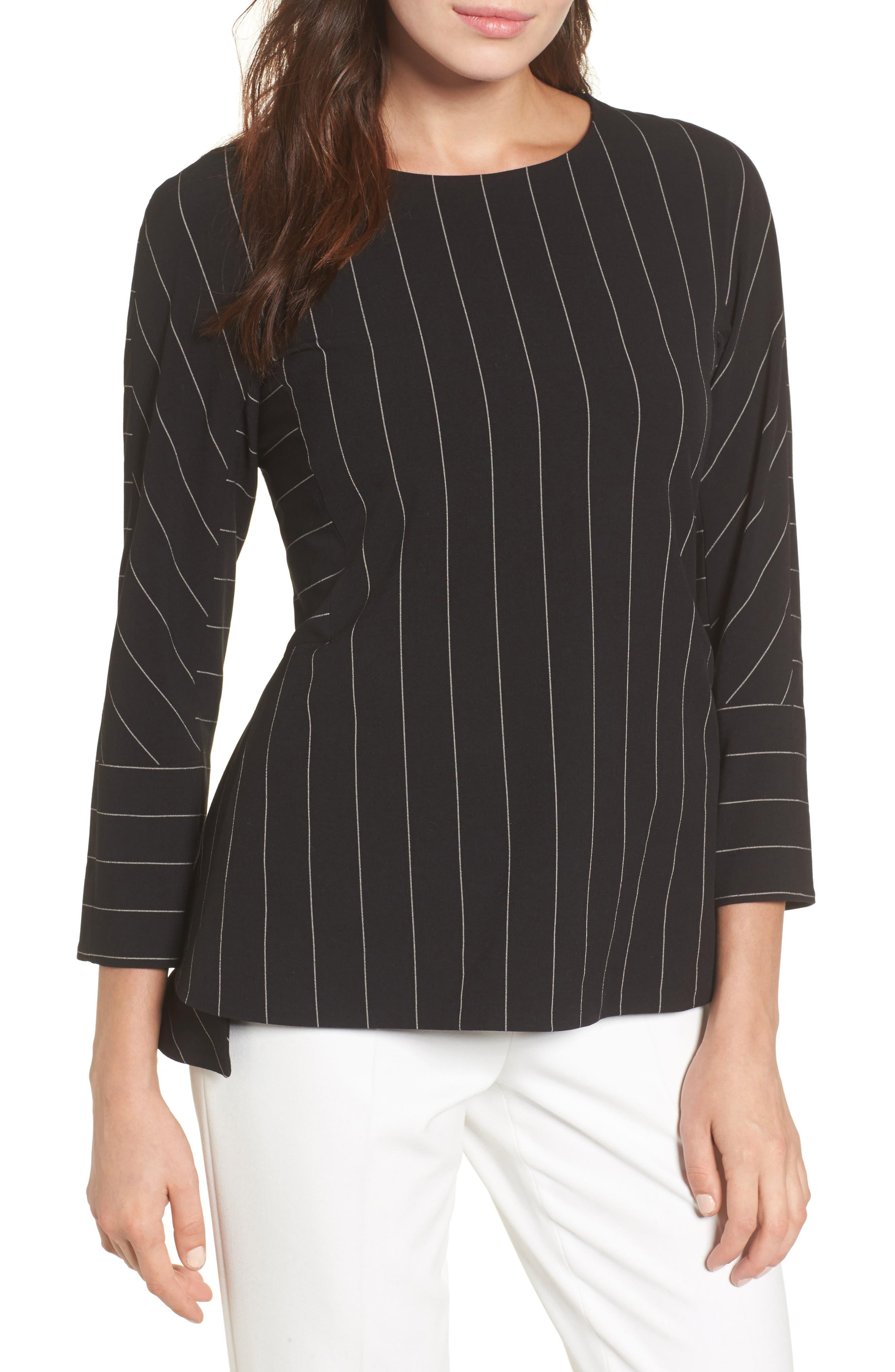 Pinstripe Blouse,                         Main,                         color, Black/ White