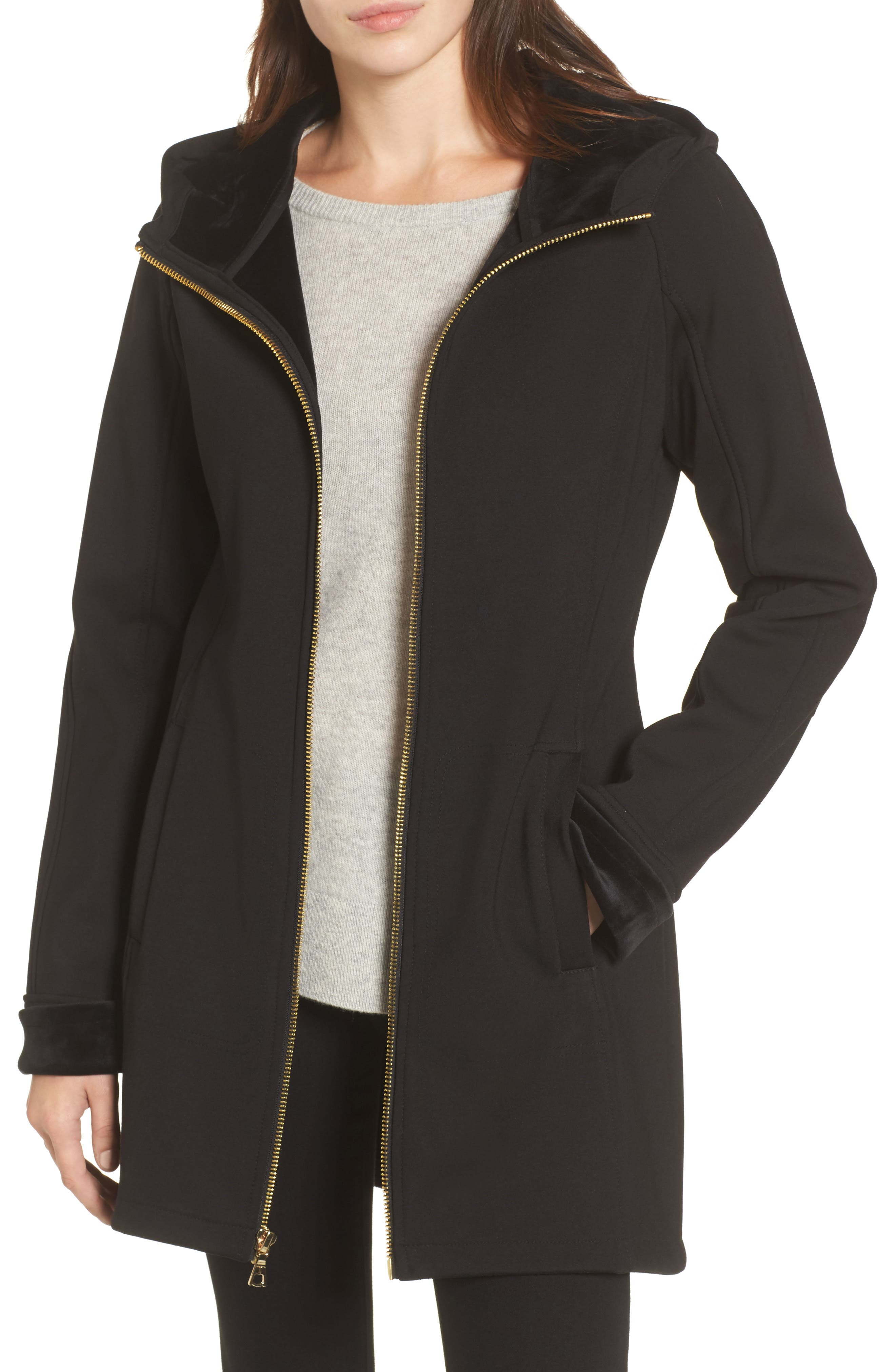 Willow Water-Resistant Hooded Coat,                         Main,                         color, Black