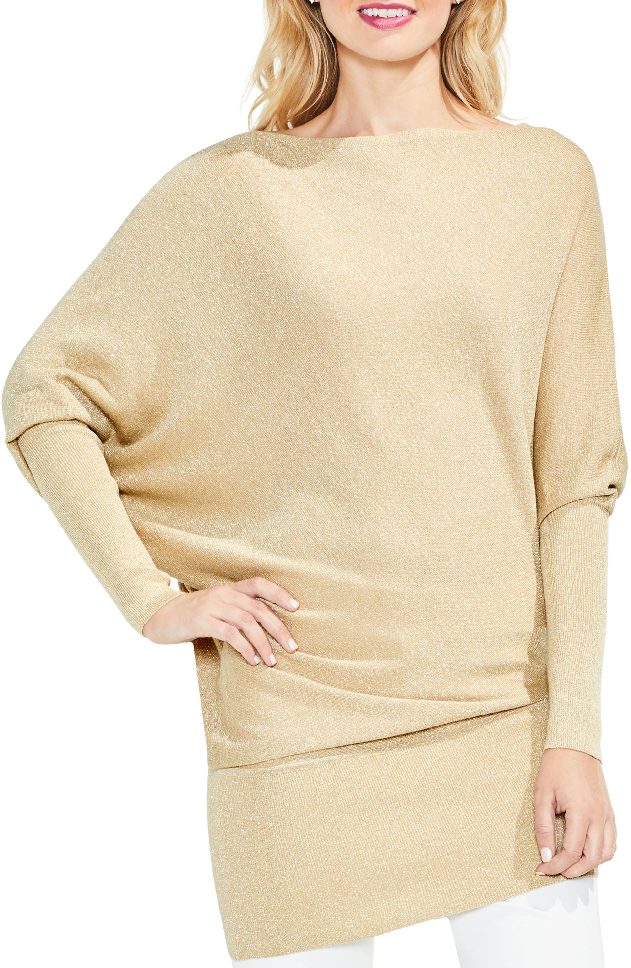 Batwing Sleeve Metallic Sweater,                         Main,                         color, Bisque