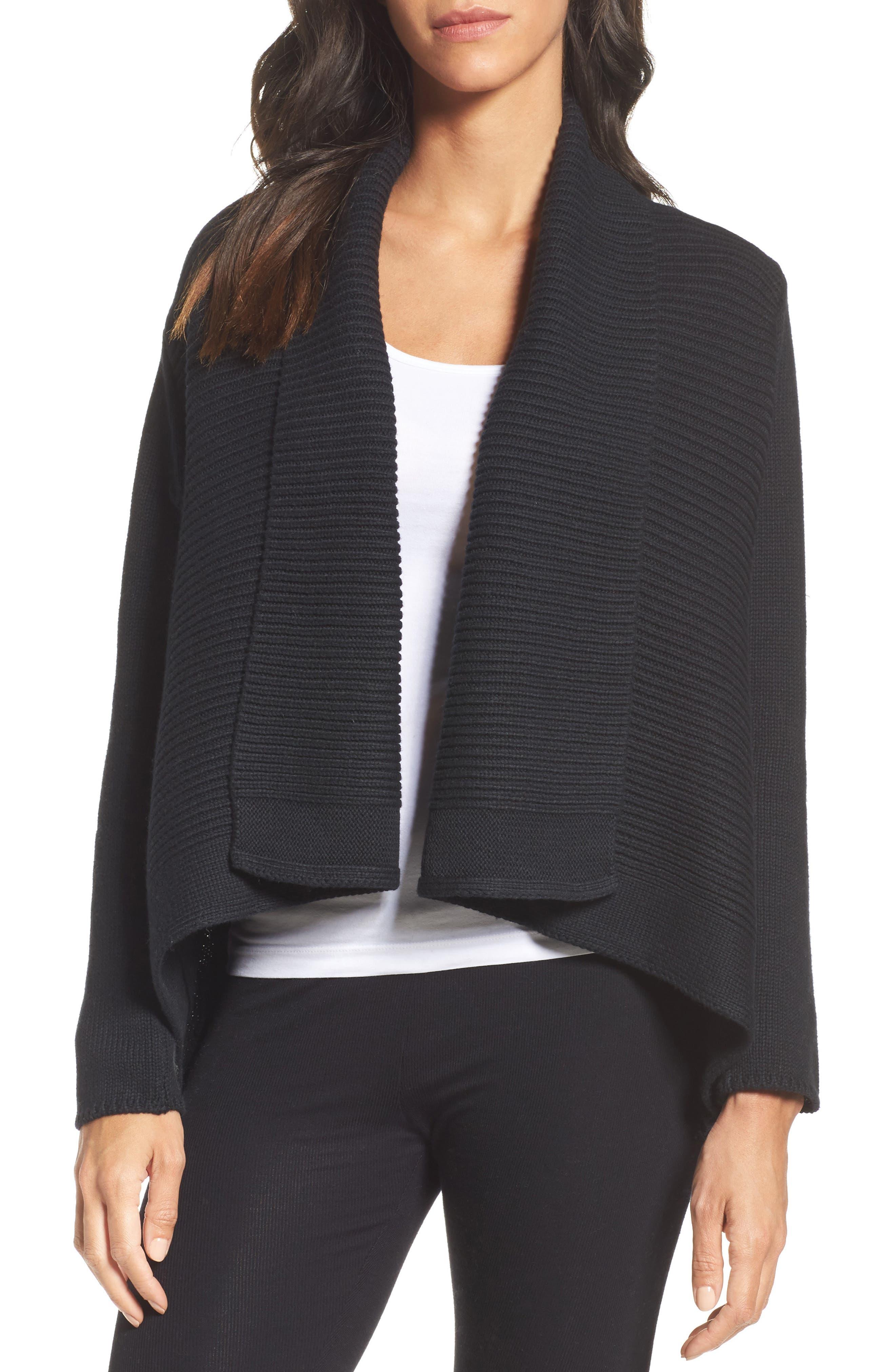 Shawl Collar Cardigan,                         Main,                         color, Black