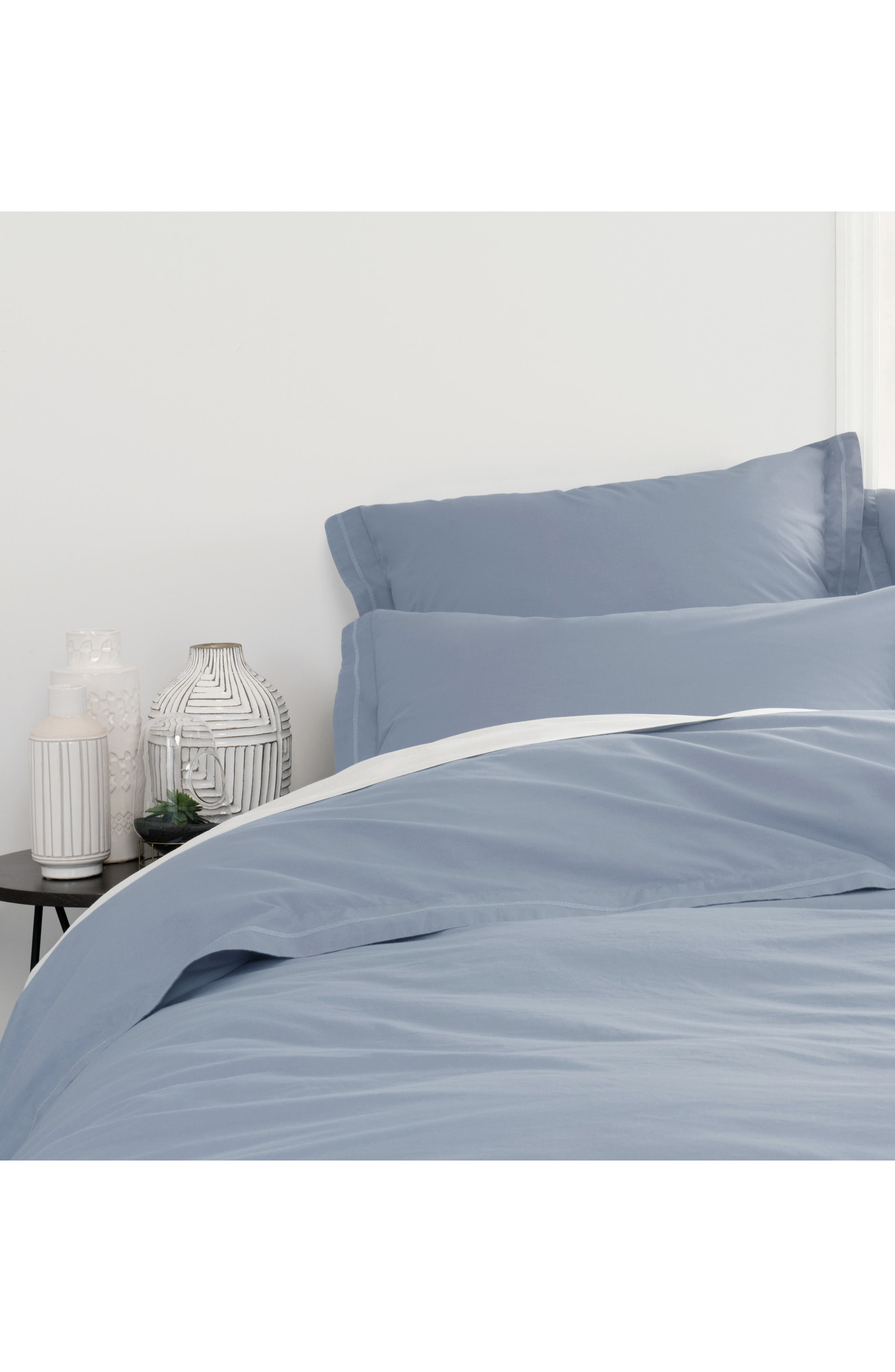 Downtime Embroidered Duvet Cover,                             Main thumbnail 1, color,                             Chambray