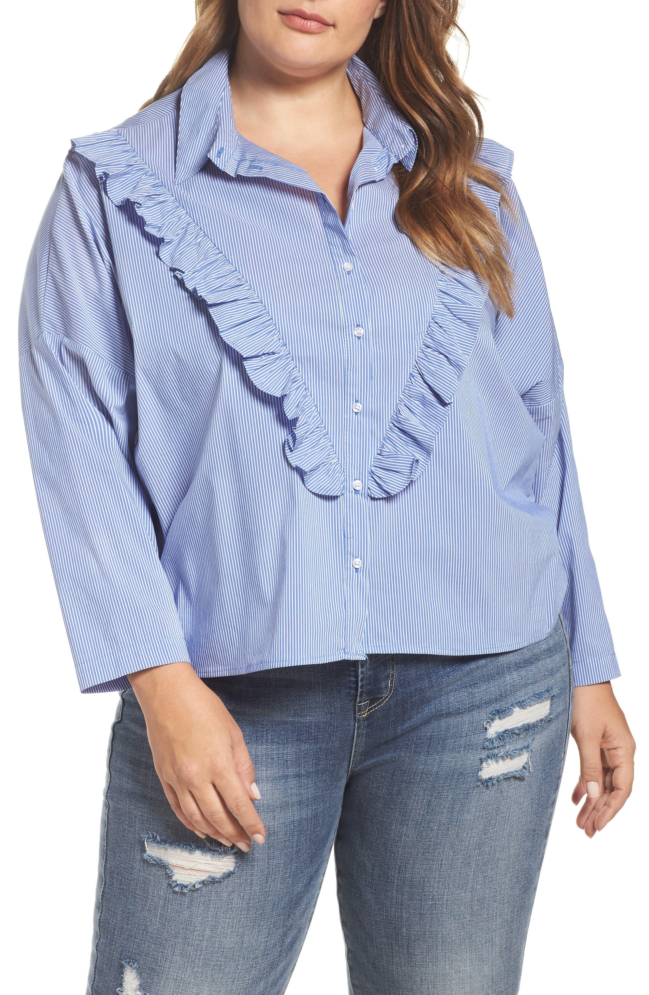 ELVI Striped Ruffle Shirt (Plus Size)