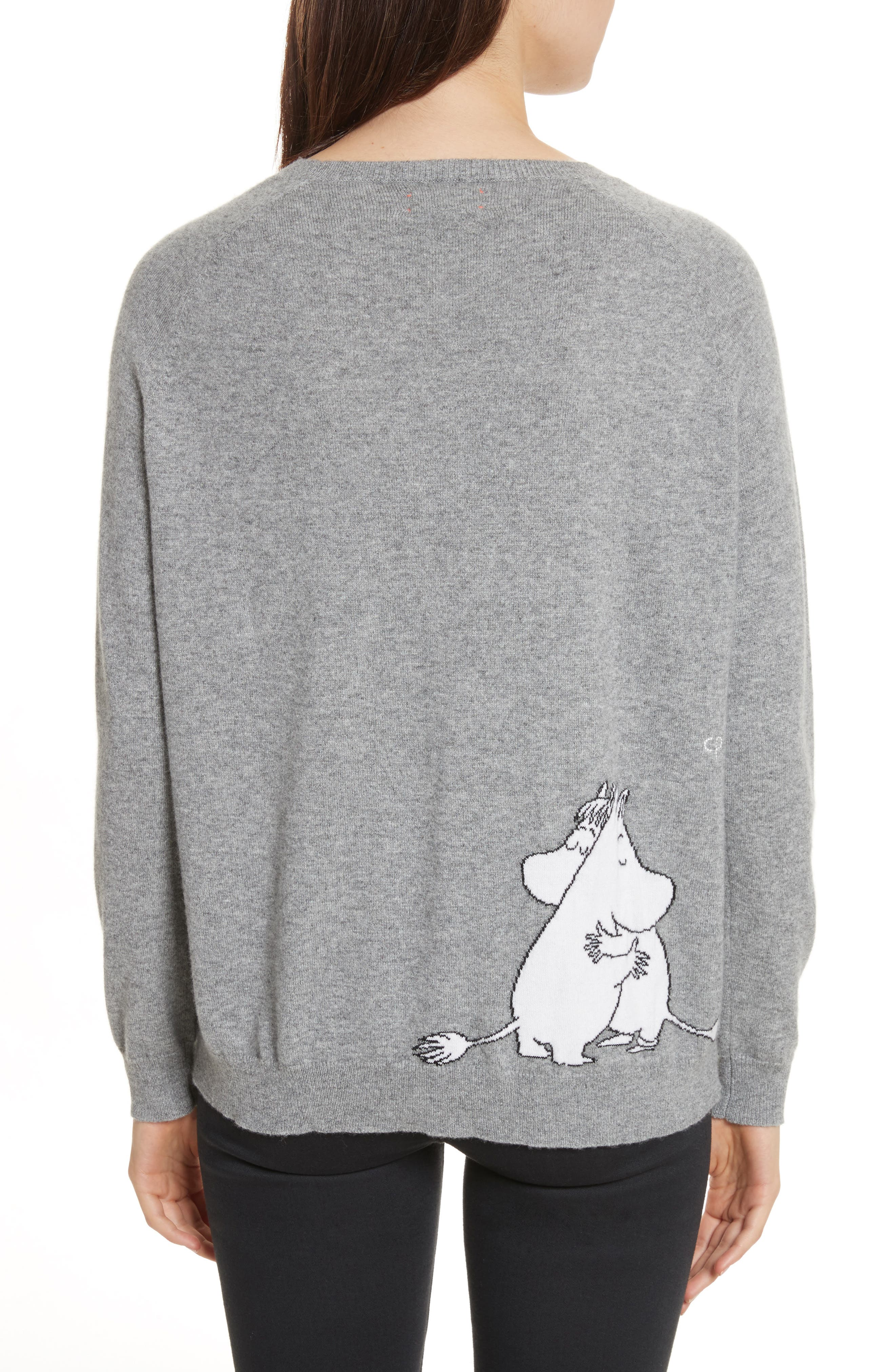 CHINTI & PARKER Just Imagine Moomin Cashmere Sweater,                             Alternate thumbnail 2, color,                             Grey