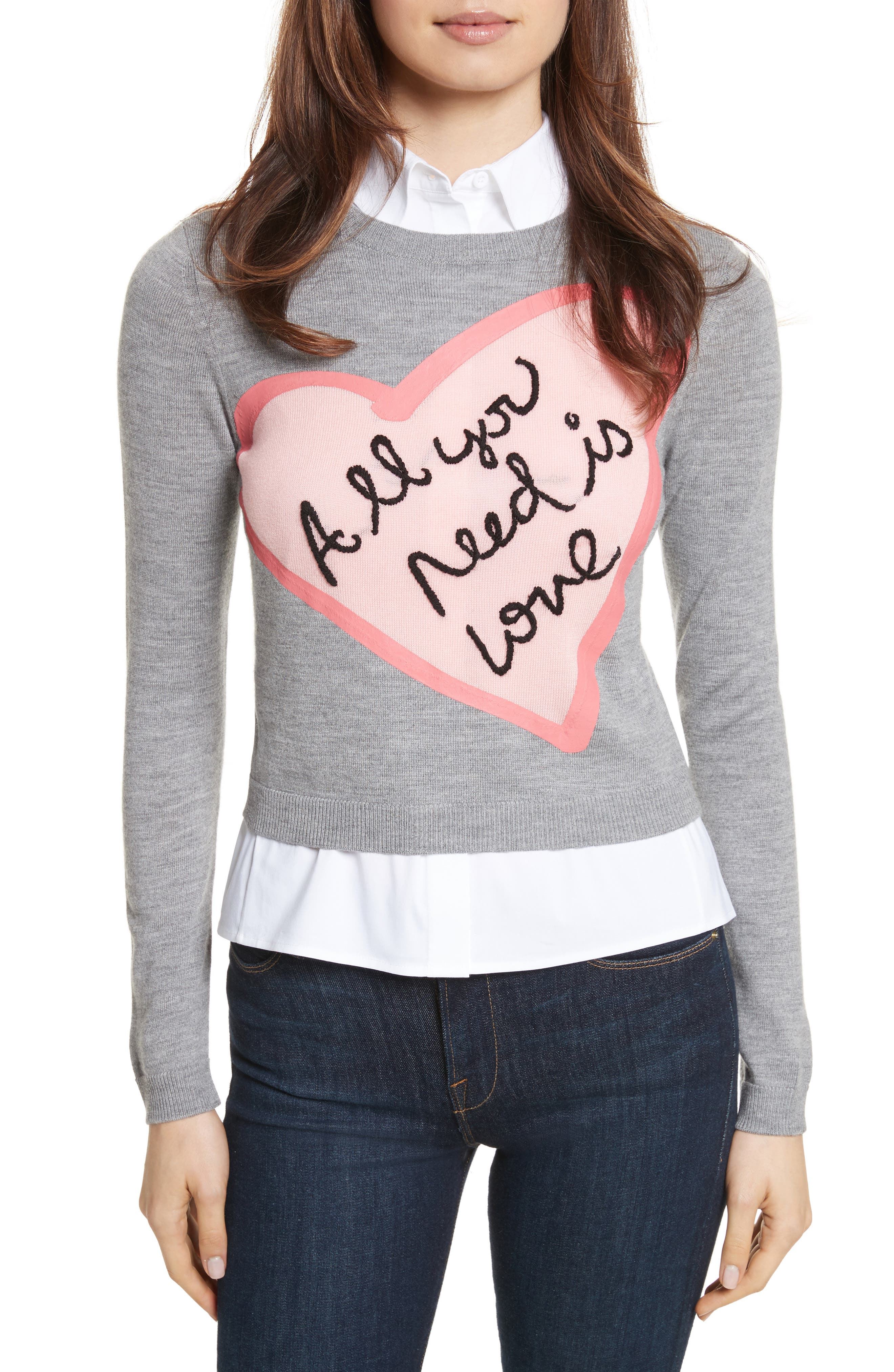 AO x The Beatles Nikia All You Need is Love Pullover,                         Main,                         color, Medium Grey/ Pink/ White