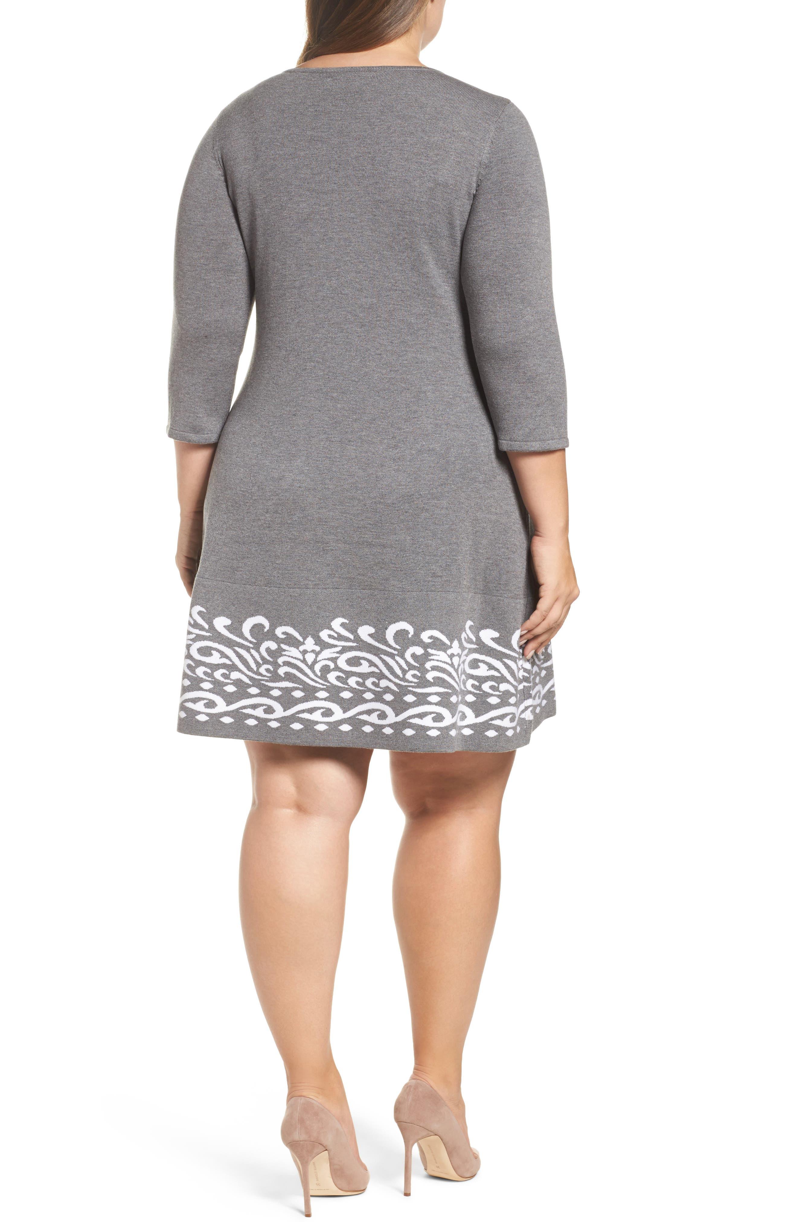 Alternate Image 2  - Eliza J A-Line Sweater Dress (Plus Size)
