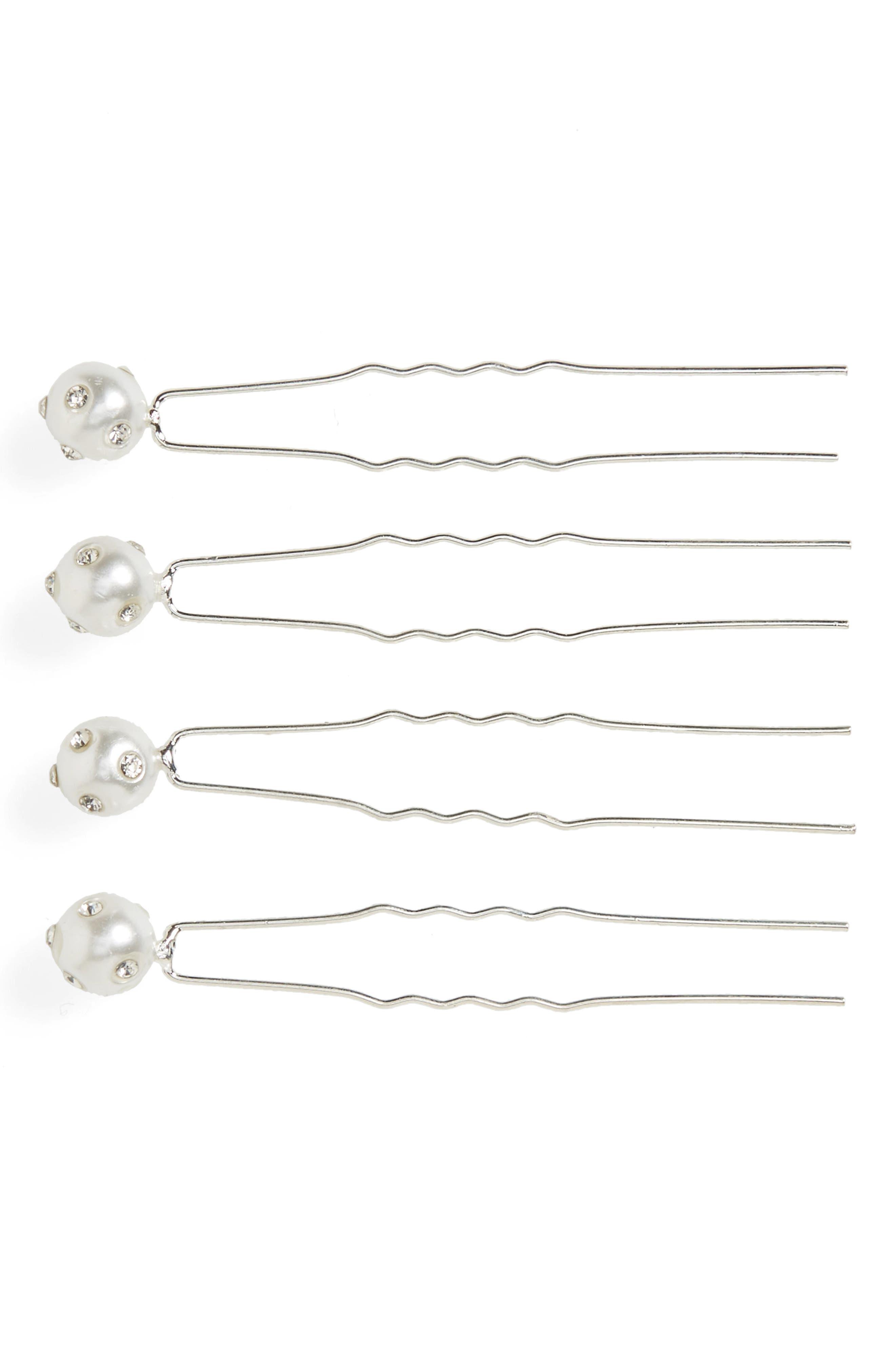 Set of 4 Imitation-Pearl Bobby Pins,                         Main,                         color, Pearl