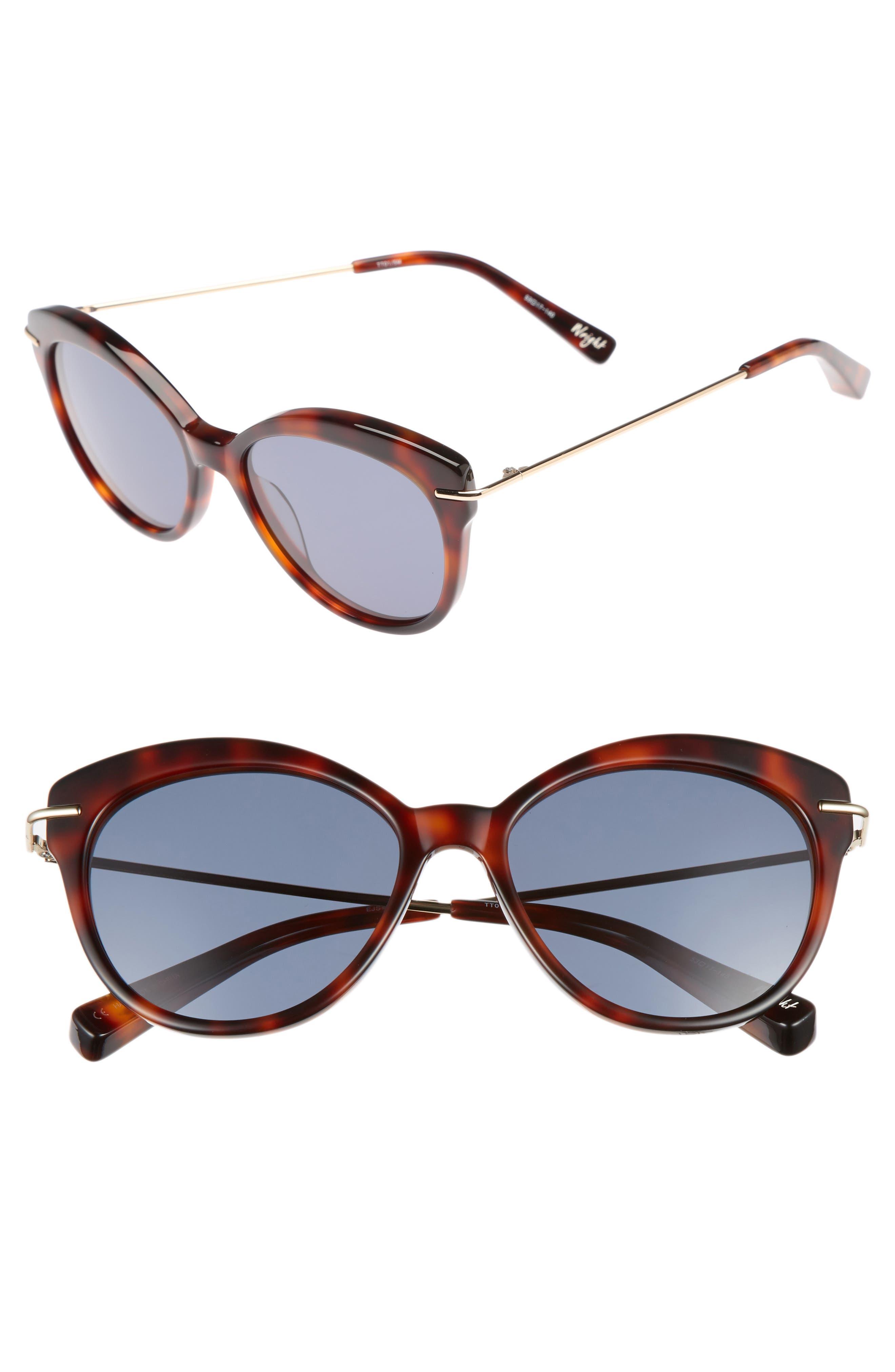 Wright 53mm Cat Eye Sunglasses,                         Main,                         color, Tortoise