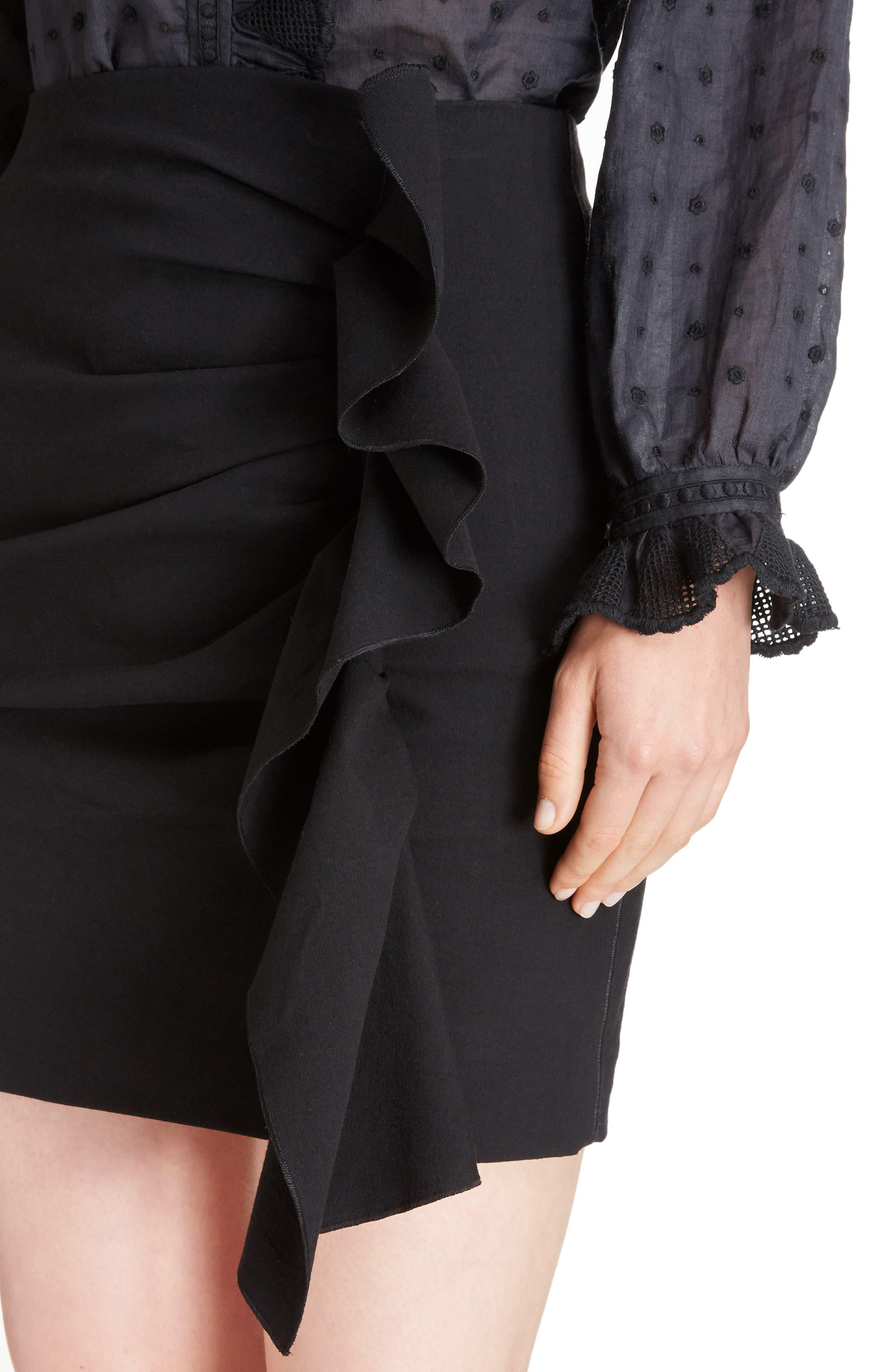 Lefly Ruffle Miniskirt,                             Alternate thumbnail 4, color,                             Black