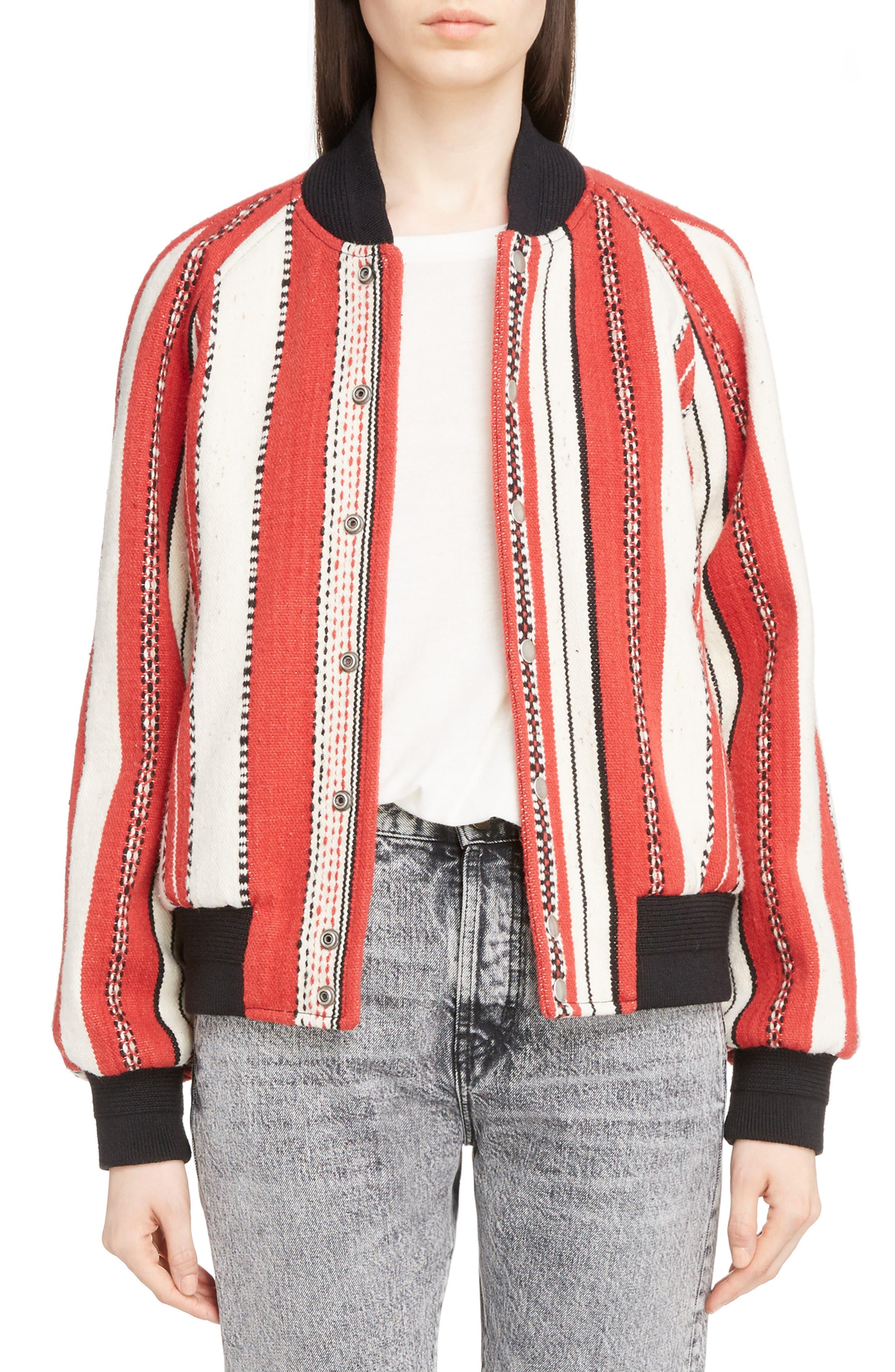 Tapestry Wool Blend Teddy Jacket,                         Main,                         color, Rouge Craie Noir