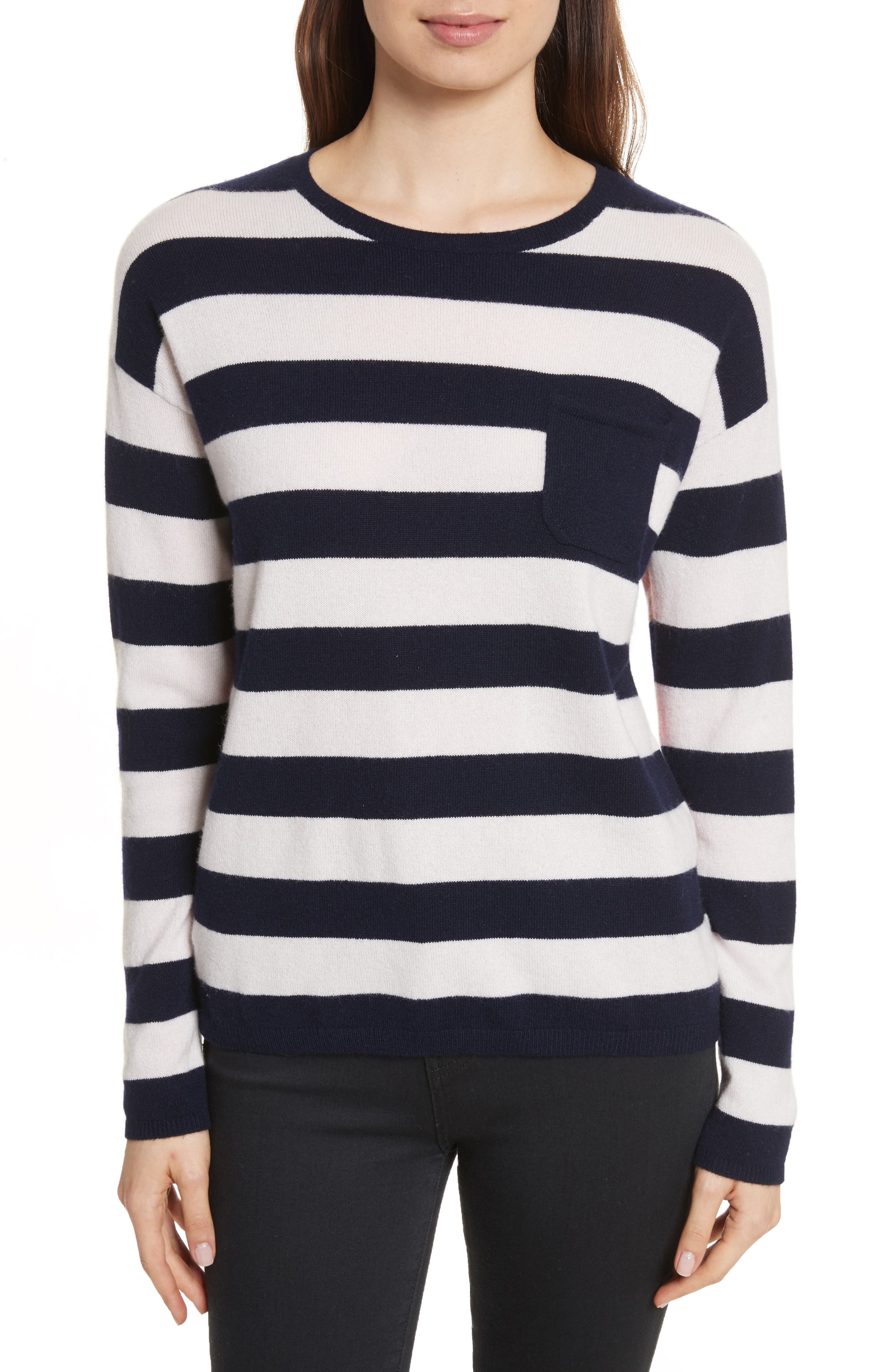 CHINTI & PARKER Navy Pop Stripe Cashmere Sweater,                         Main,                         color, Blush/ Navy/ Cherry