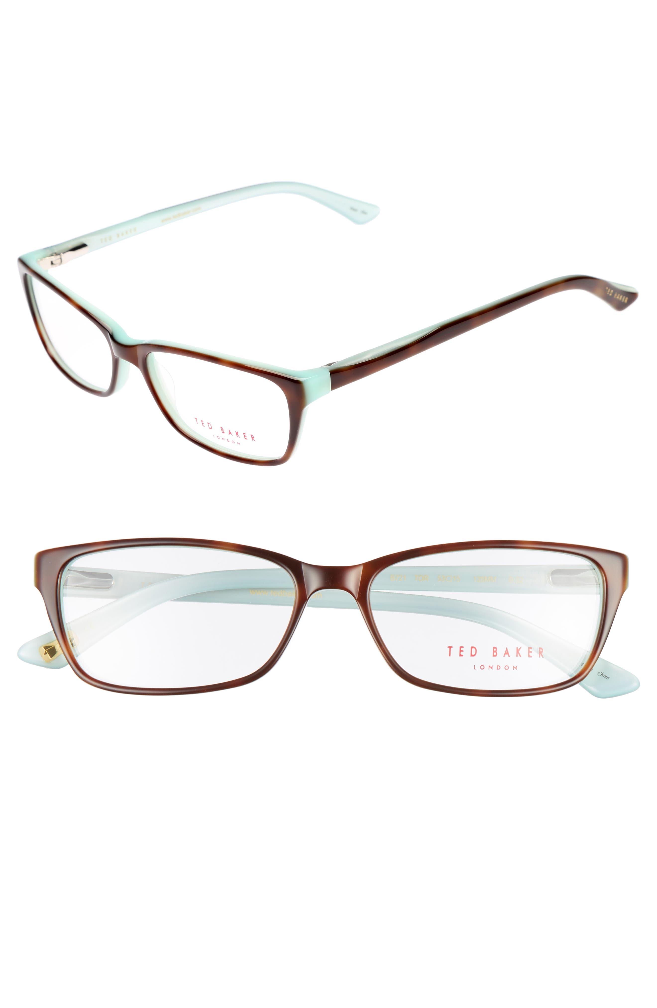 53mm Optical Glasses,                             Main thumbnail 1, color,                             Brown