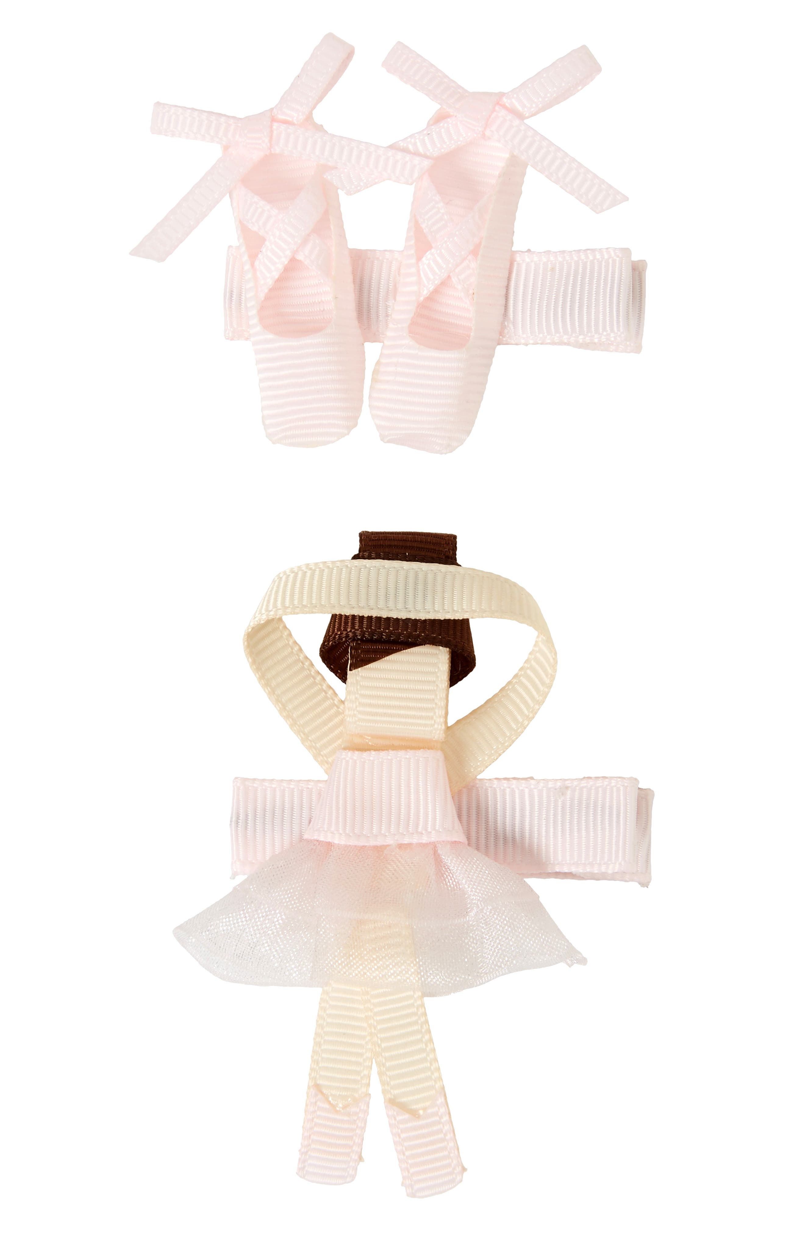 2-Piece Ballerina Hair Clip Set,                         Main,                         color, Powder Pink