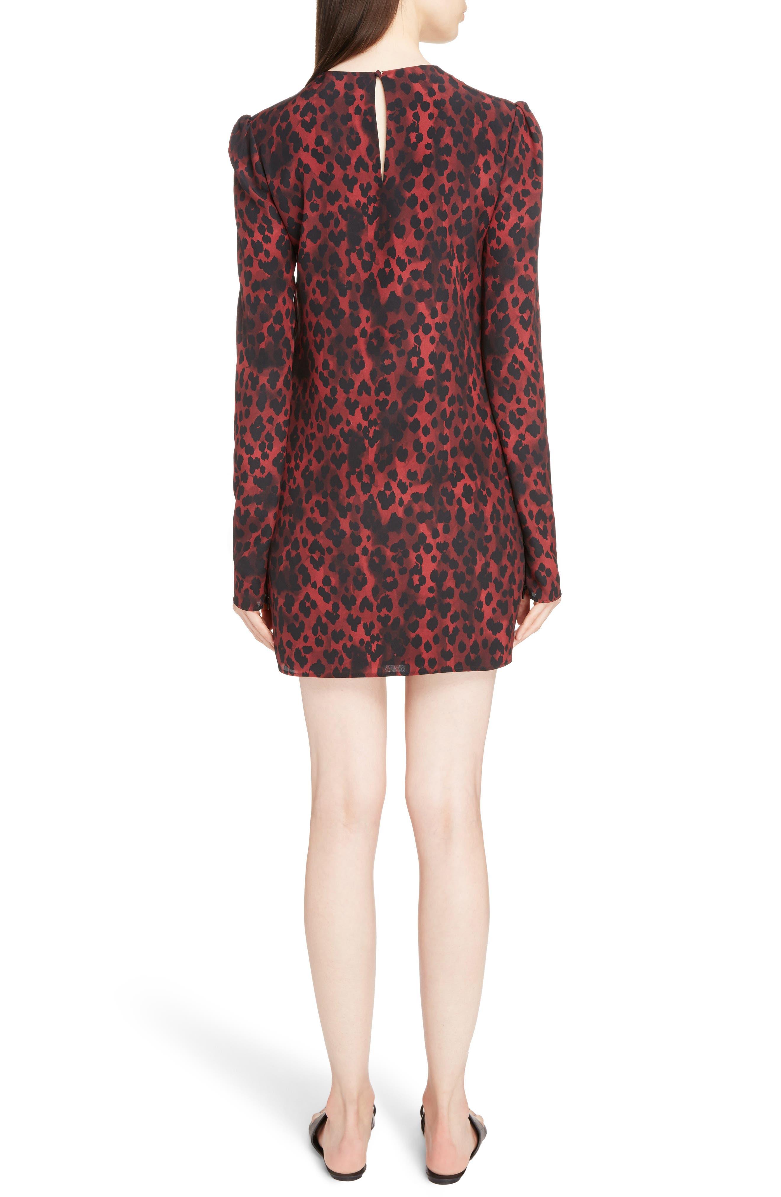Silk Crêpe de Chine Leopard Print Shift Dress,                             Alternate thumbnail 2, color,                             Rouge