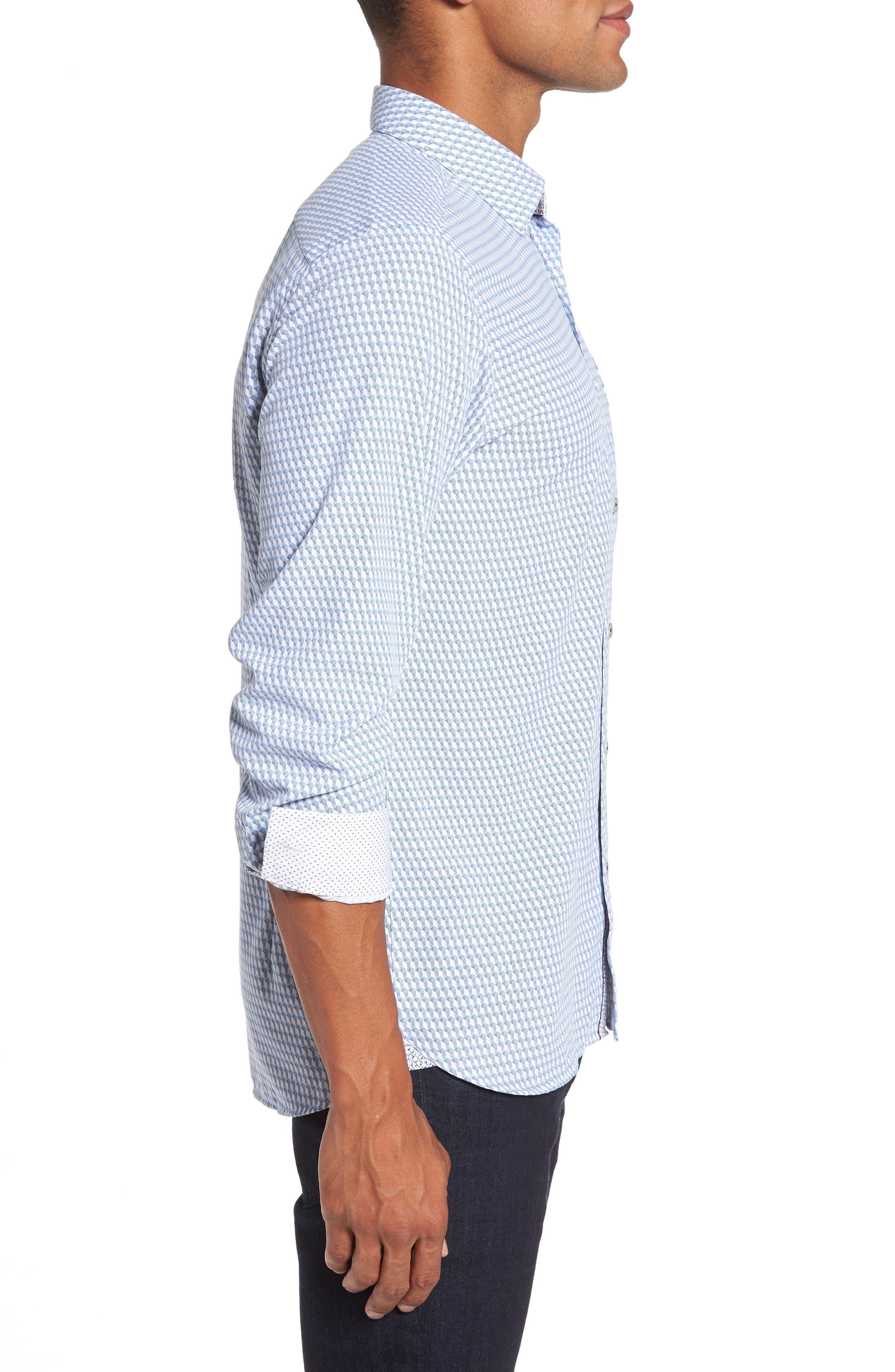 Wyne Slim Fit Polynosic Geo Print Sport Shirt,                             Alternate thumbnail 3, color,                             White