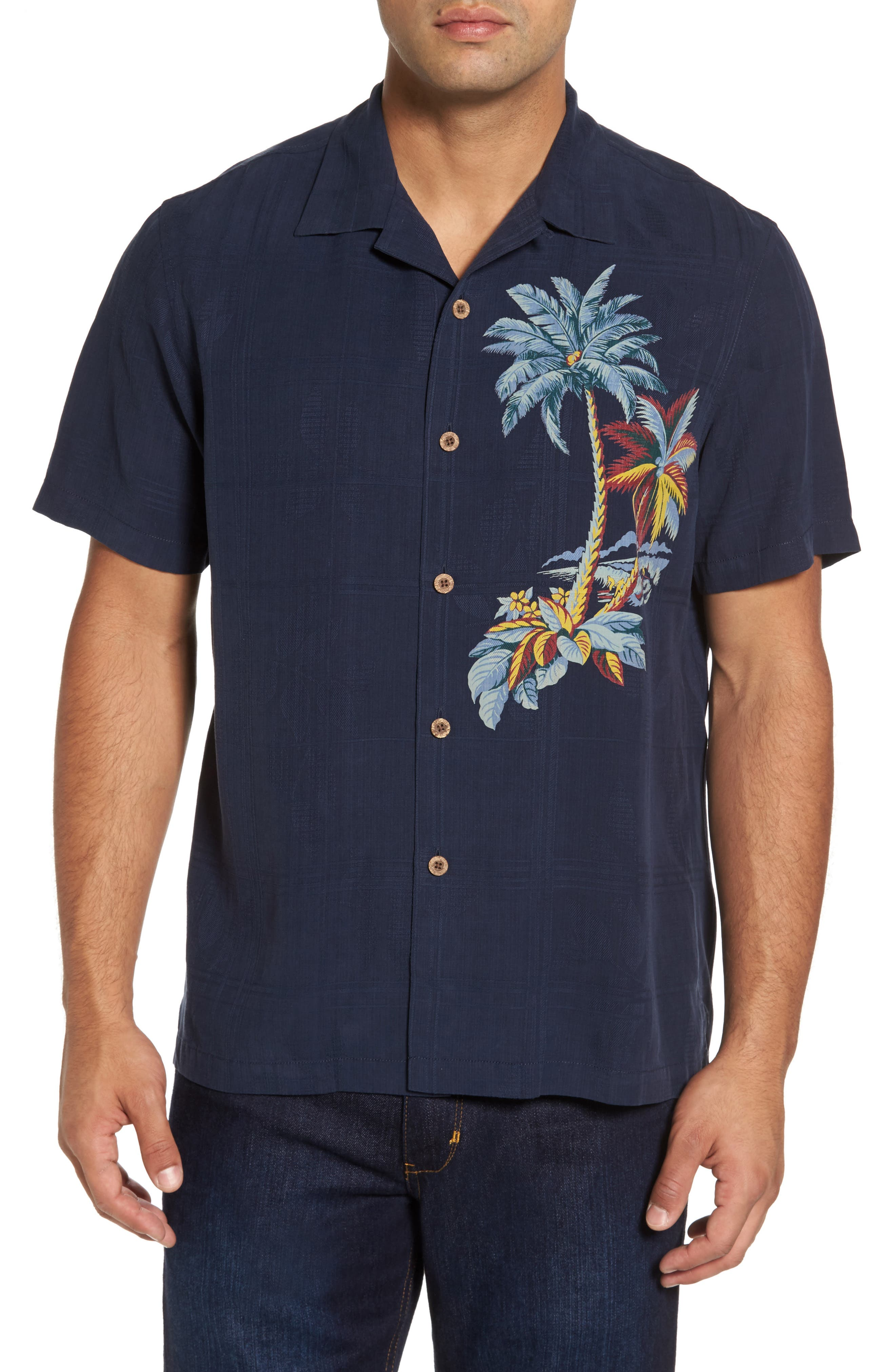 Alternate Image 1 Selected - Tommy Bahama Moonlight Palms Silk Camp Shirt