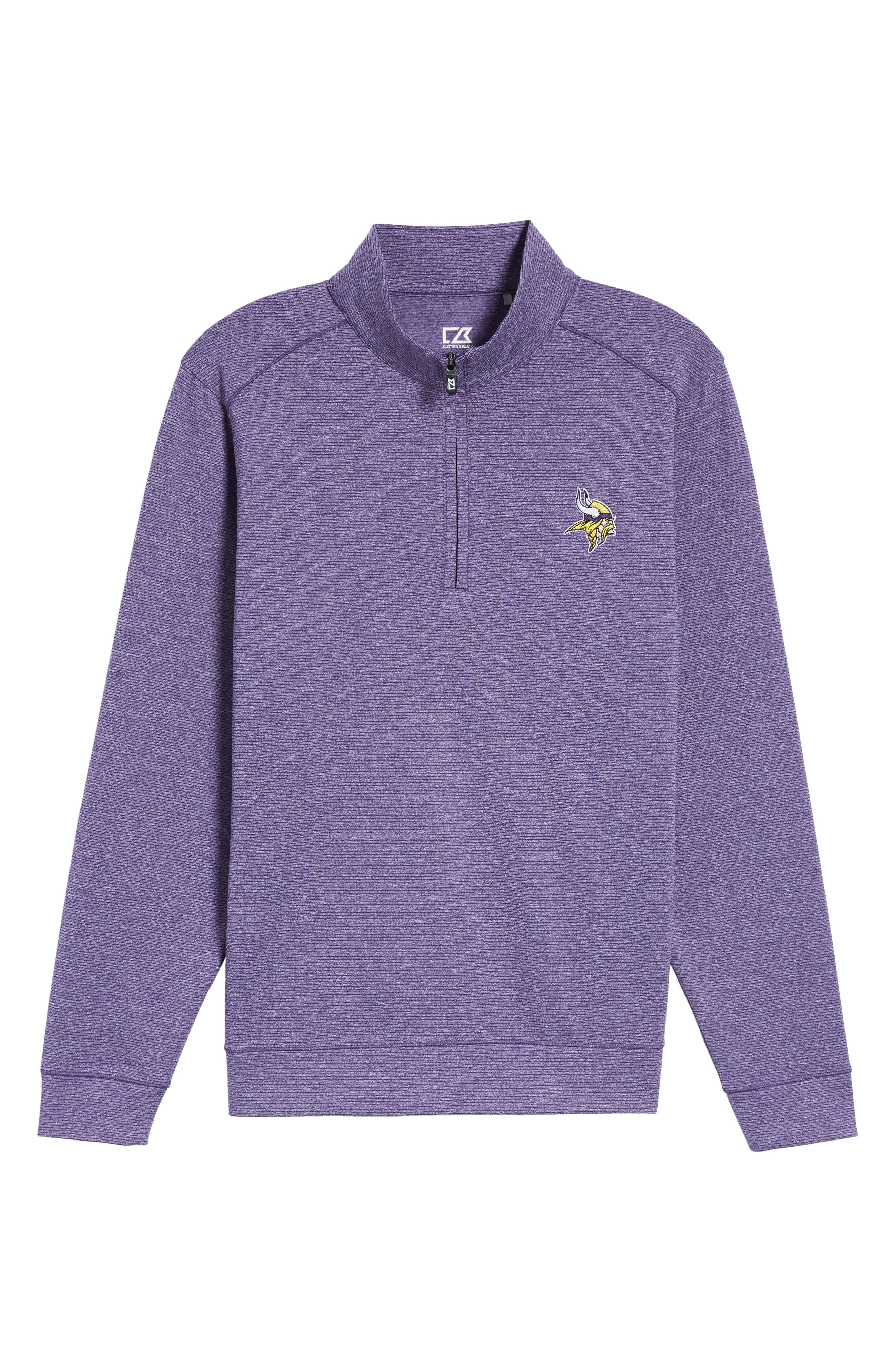 Shoreline - Minnesota Vikings Half Zip Pullover,                             Alternate thumbnail 6, color,                             College Purple Heather