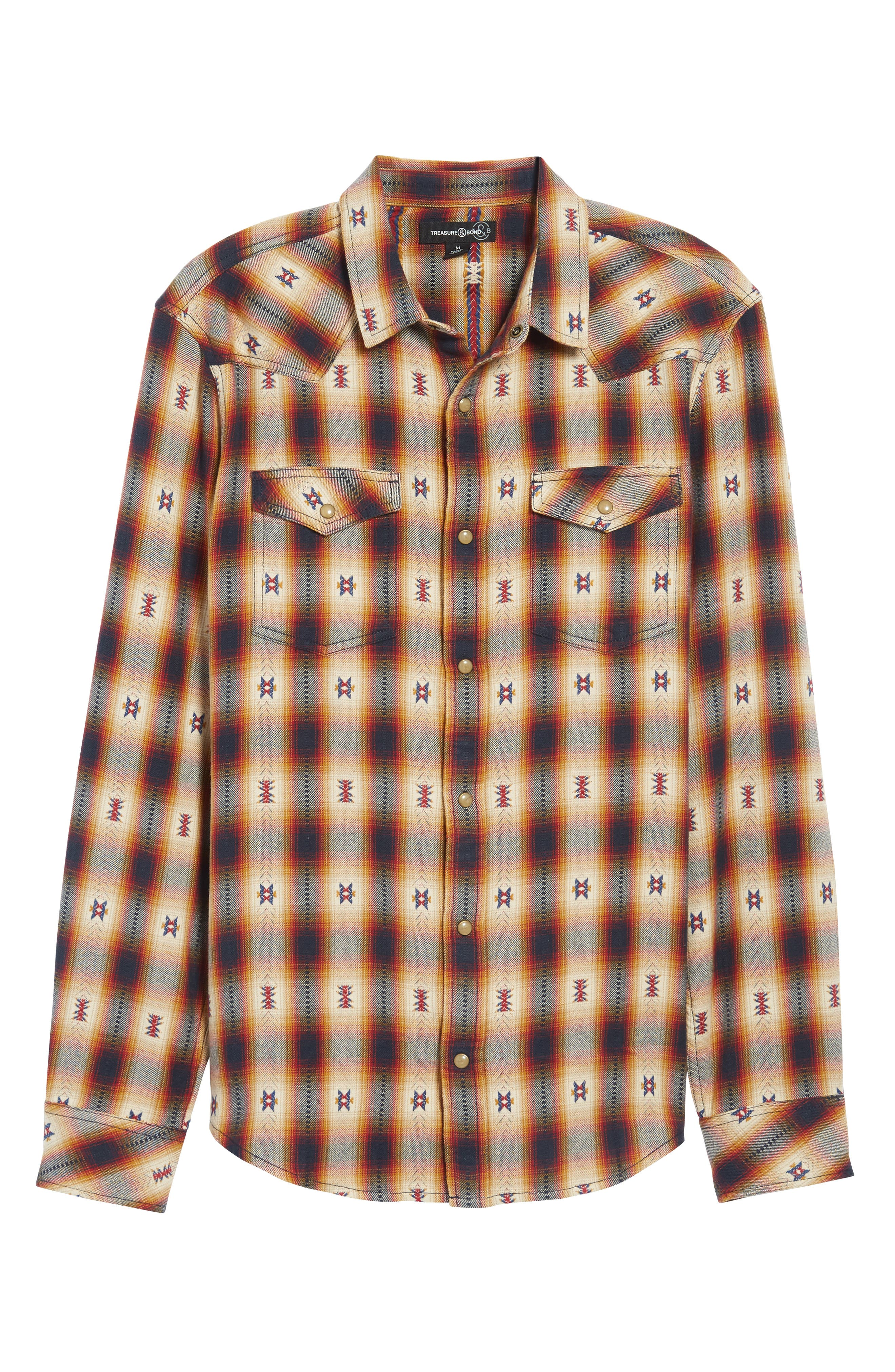 Feliz Dobby Plaid Western Shirt,                             Alternate thumbnail 6, color,                             Navy Tan Ombre Dobby