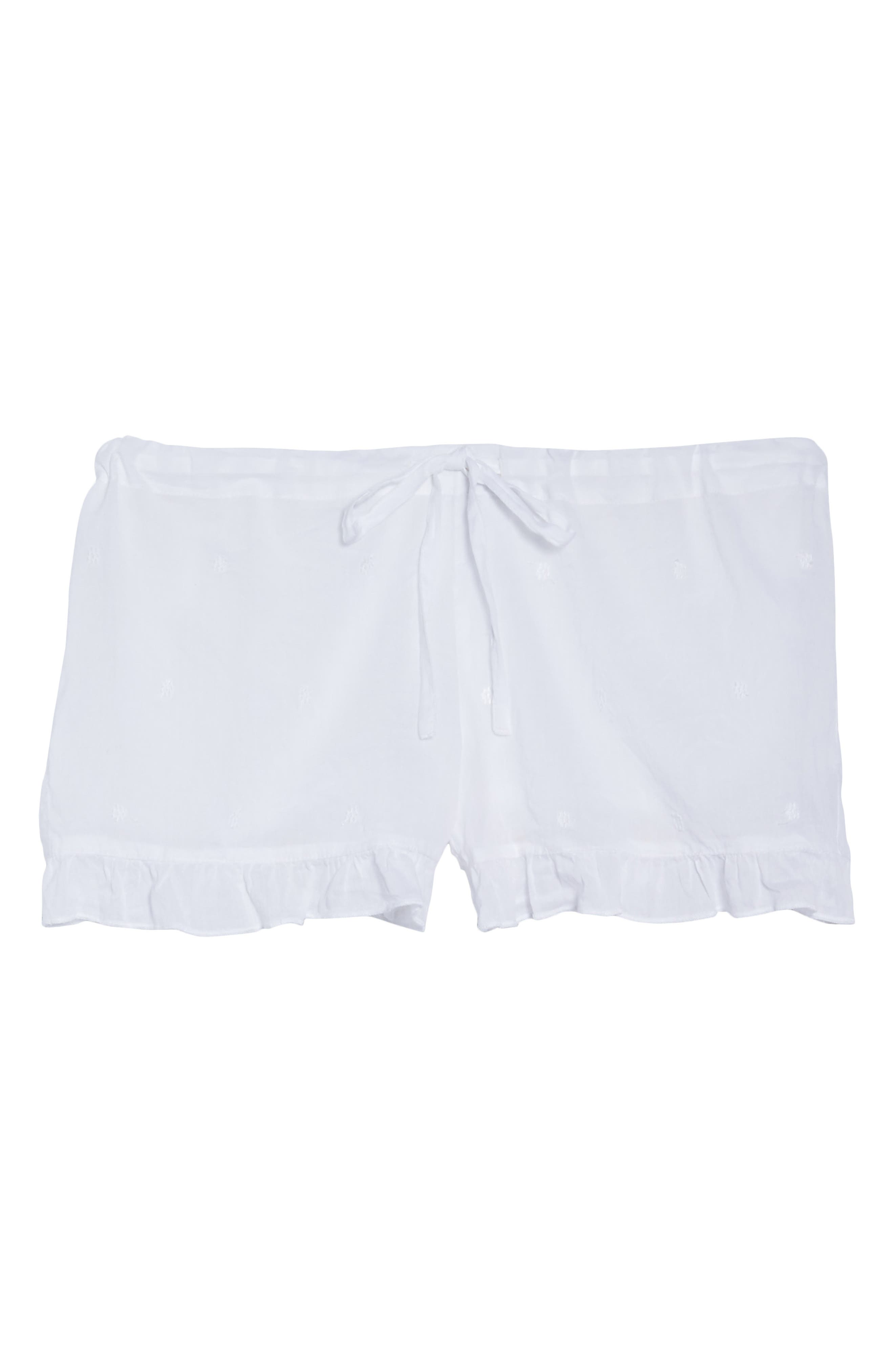 Ruffle Sleep Shorts,                             Alternate thumbnail 6, color,                             White
