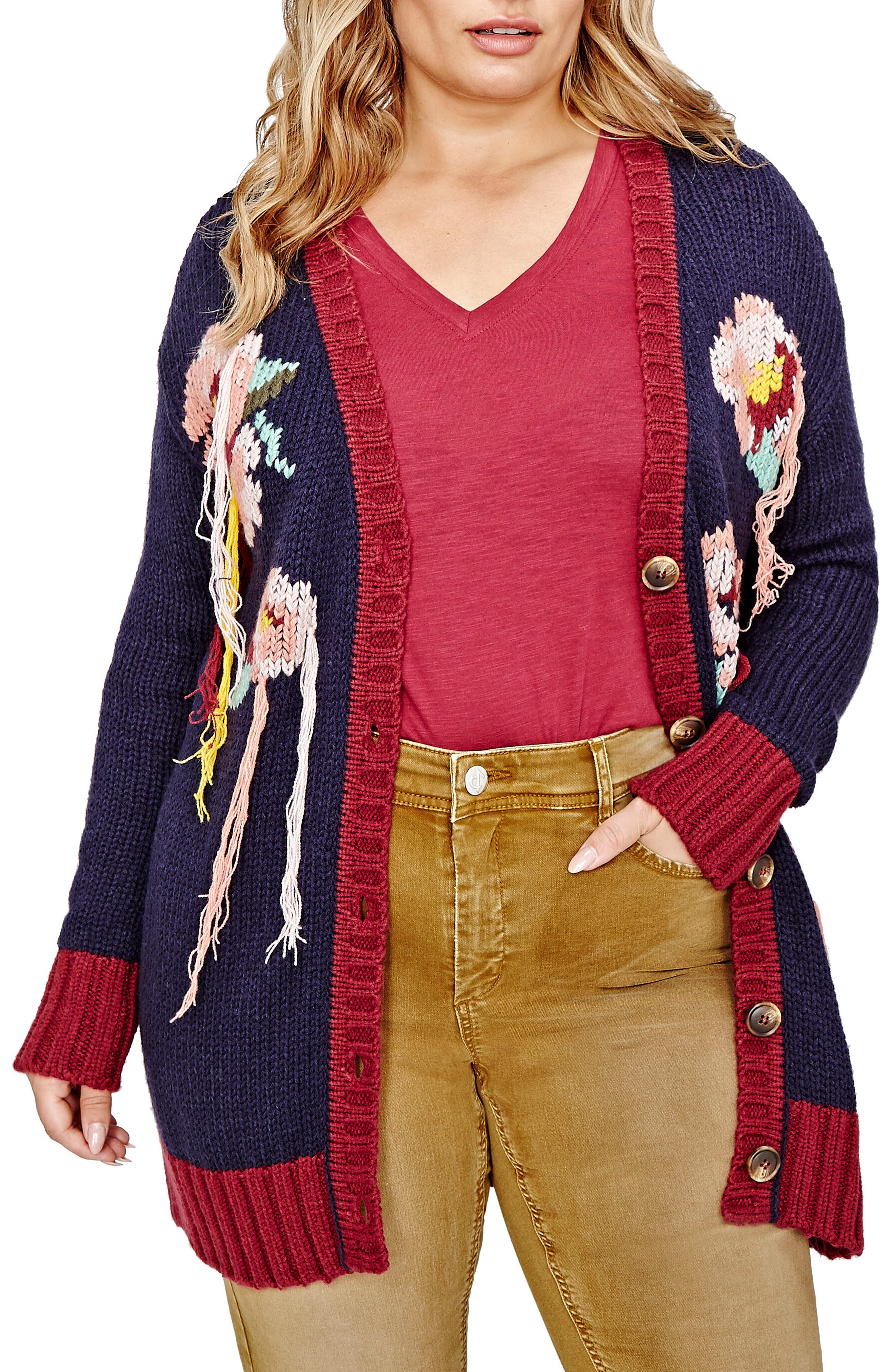 Alternate Image 1 Selected - ADDITION ELLE LOVE AND LEGEND Hand Embroidered Cardigan (Plus Size)