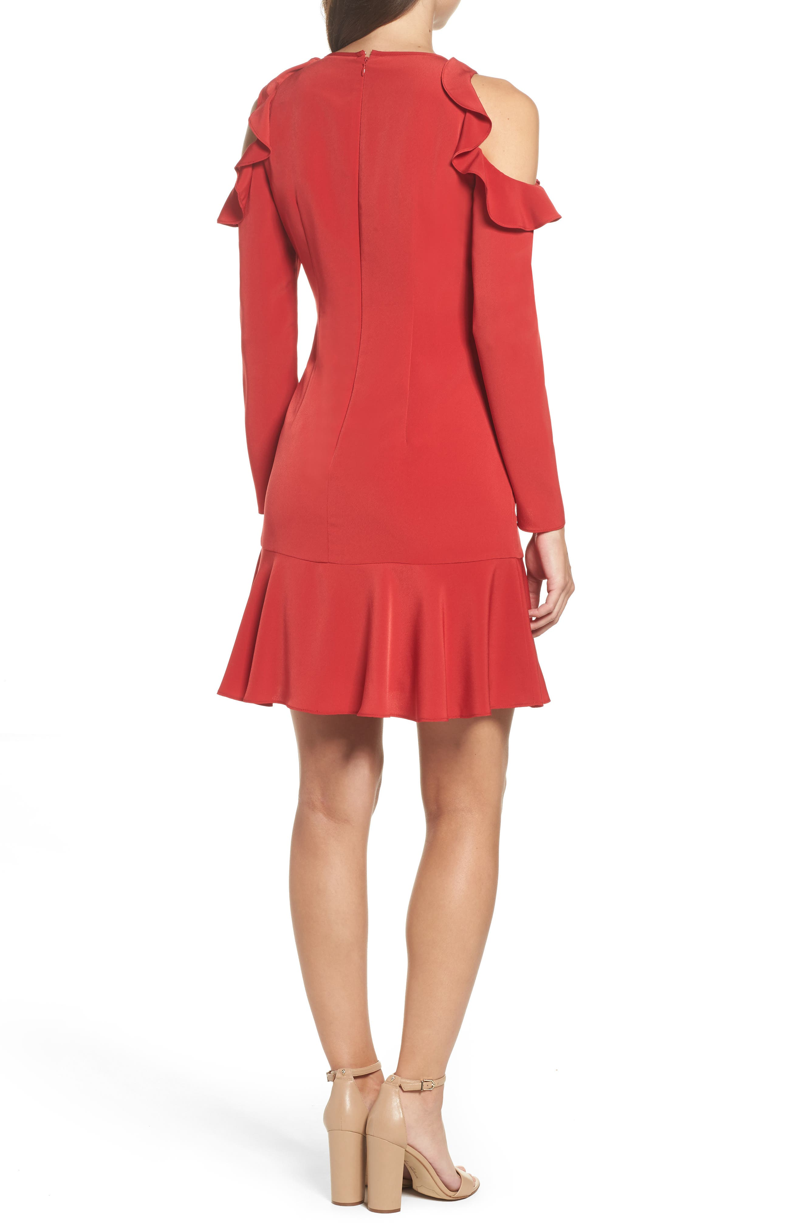 Ruffle Cold Shoulder Dress,                             Alternate thumbnail 2, color,                             Red
