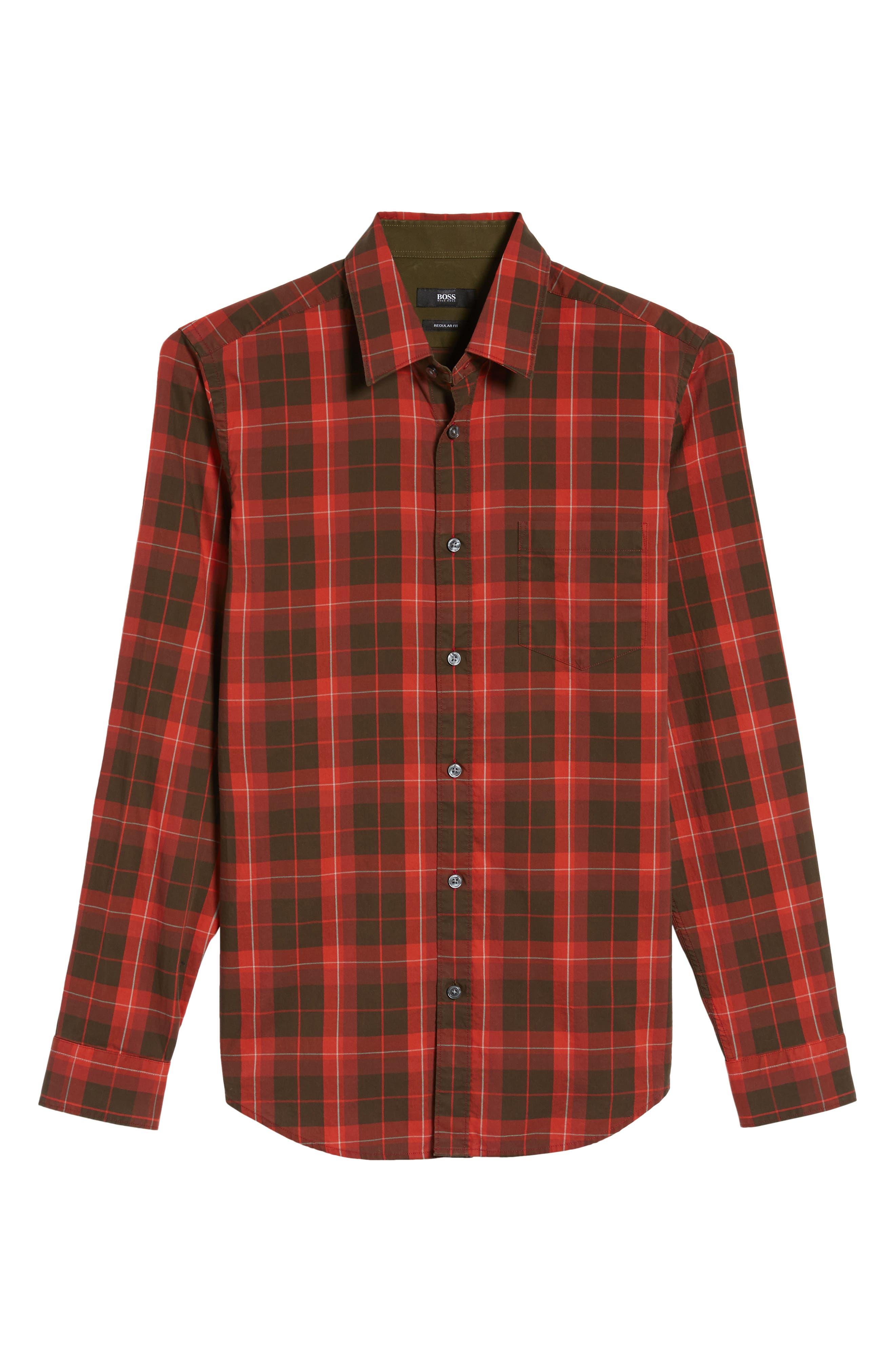 Alternate Image 5  - BOSS Lukas Regular Fit Windowpane Plaid Sport Shirt