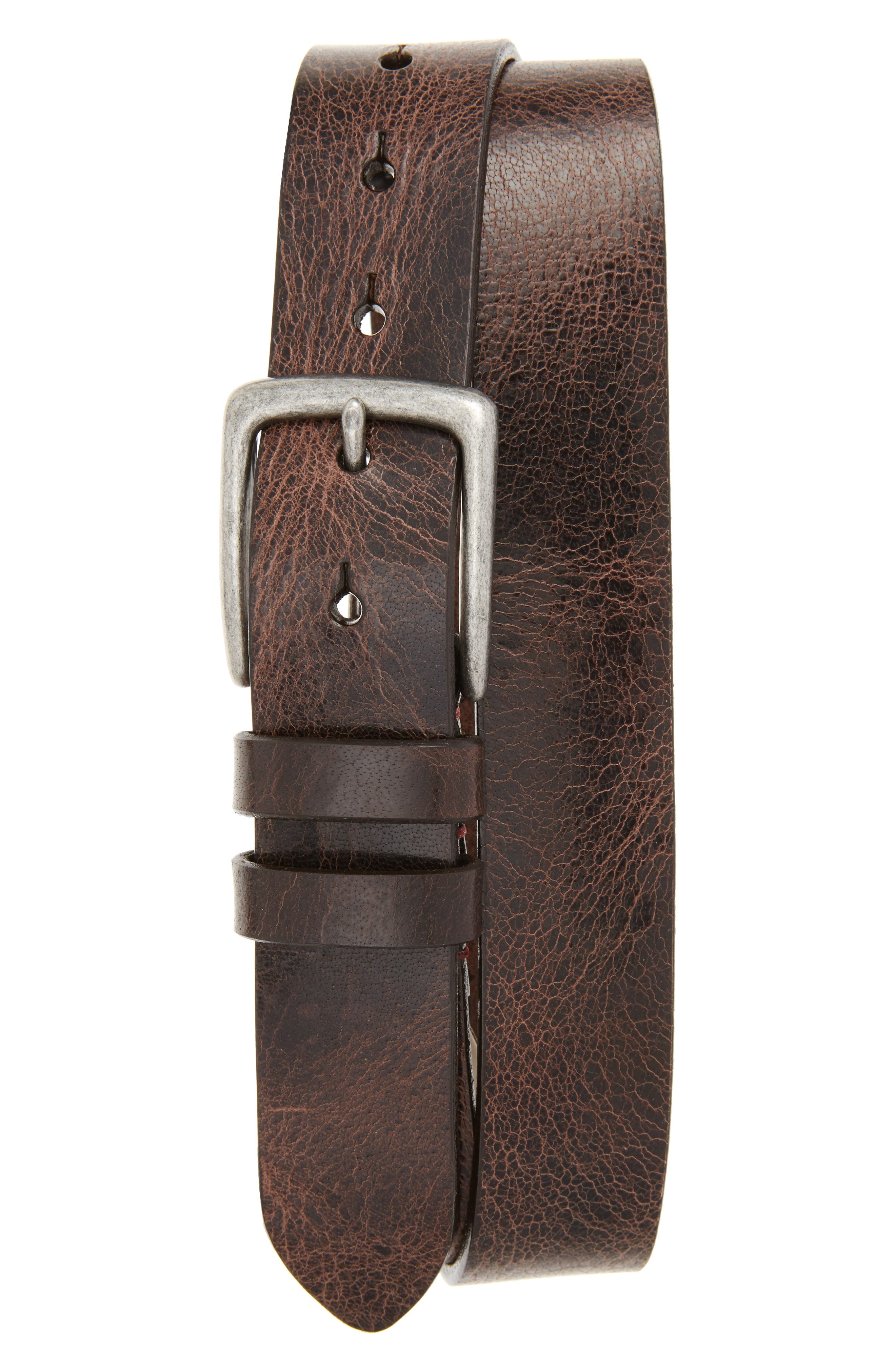 Antiqued Polished Harness Leather Belt,                             Main thumbnail 1, color,                             Brown