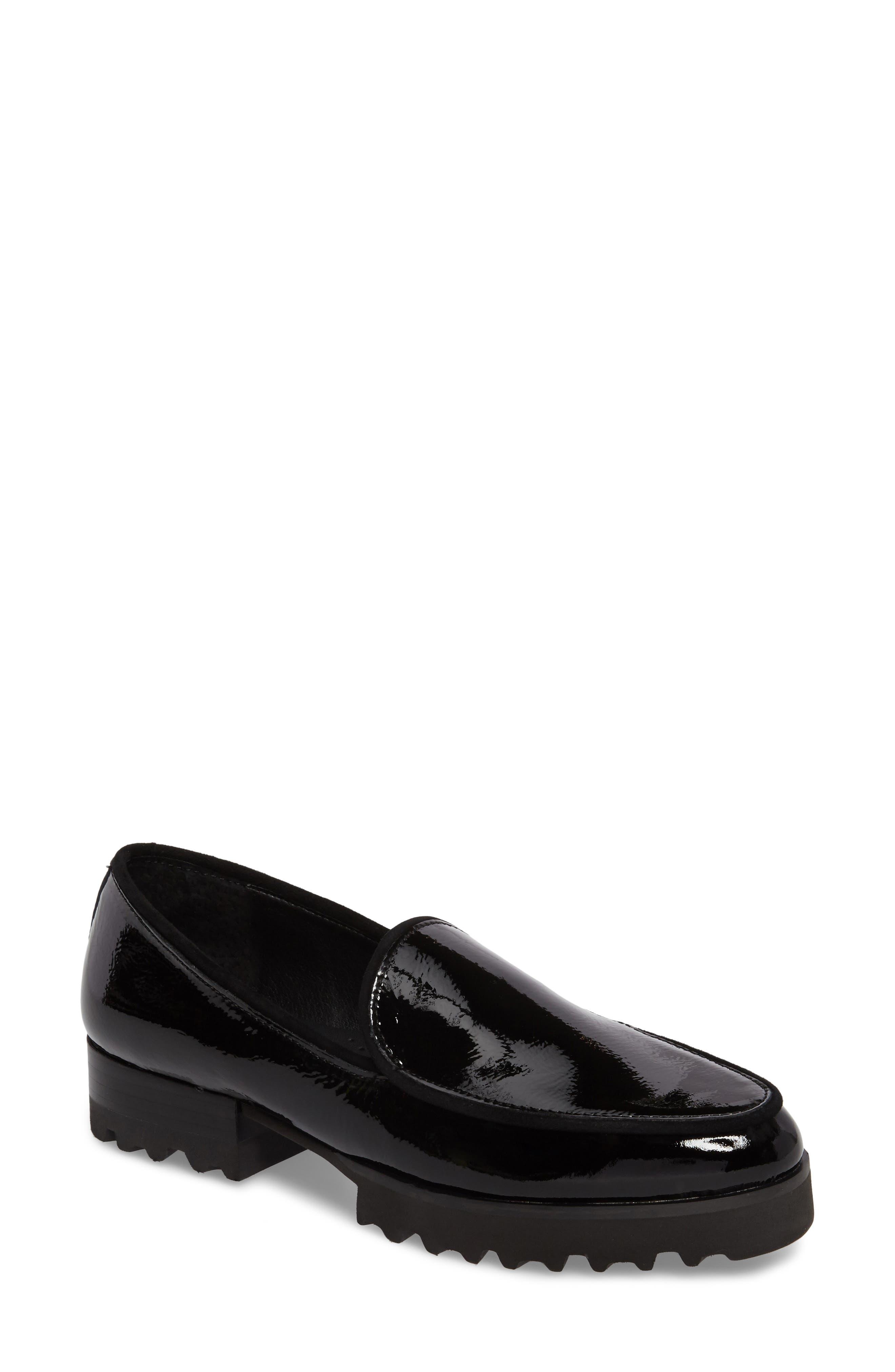 Elen Loafer,                             Main thumbnail 1, color,                             Black Leather