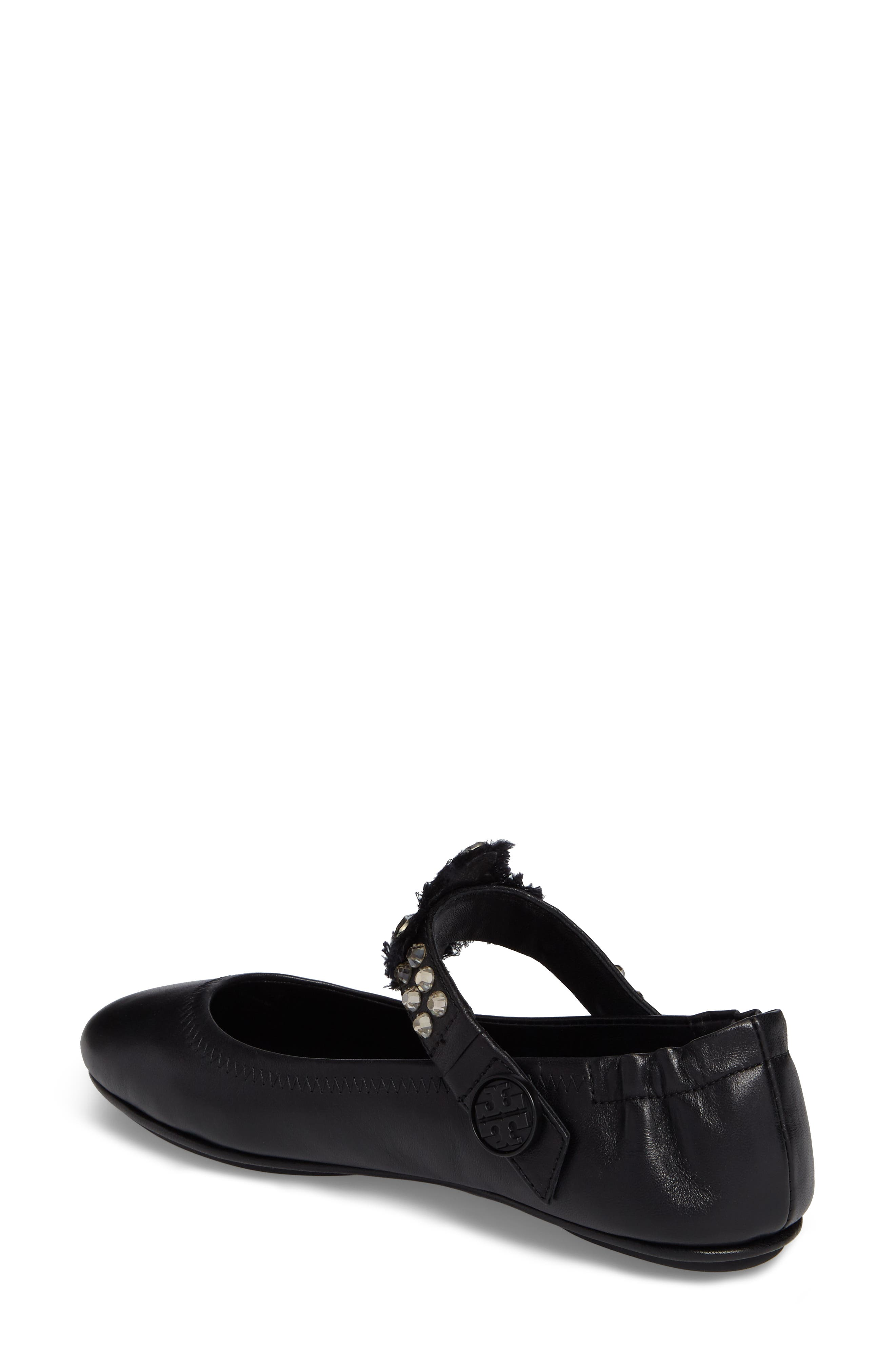 Minnie Embellished Convertible Strap Ballet Flat,                             Alternate thumbnail 2, color,                             Black/ Clear