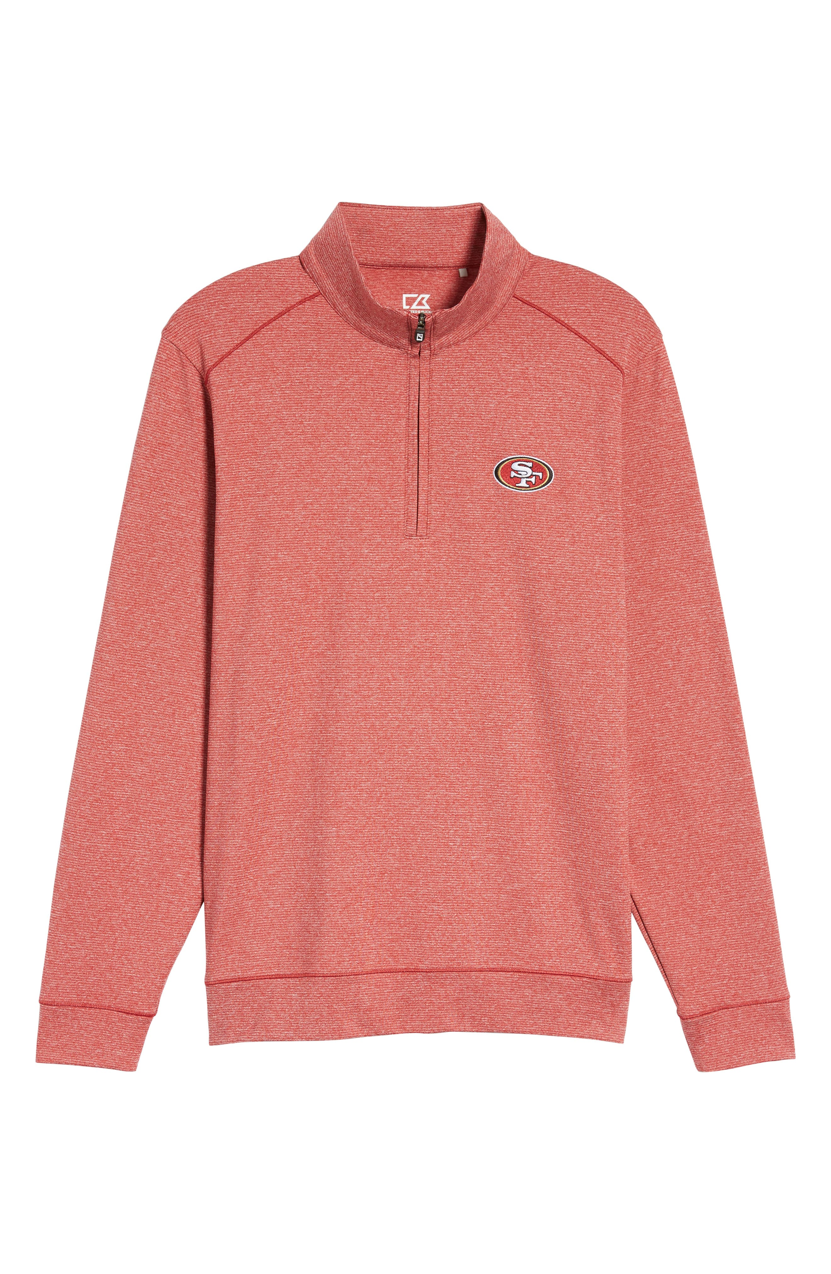 Shoreline - San Francisco 49ers Half Zip Pullover,                             Alternate thumbnail 6, color,                             Cardinal Red Heather