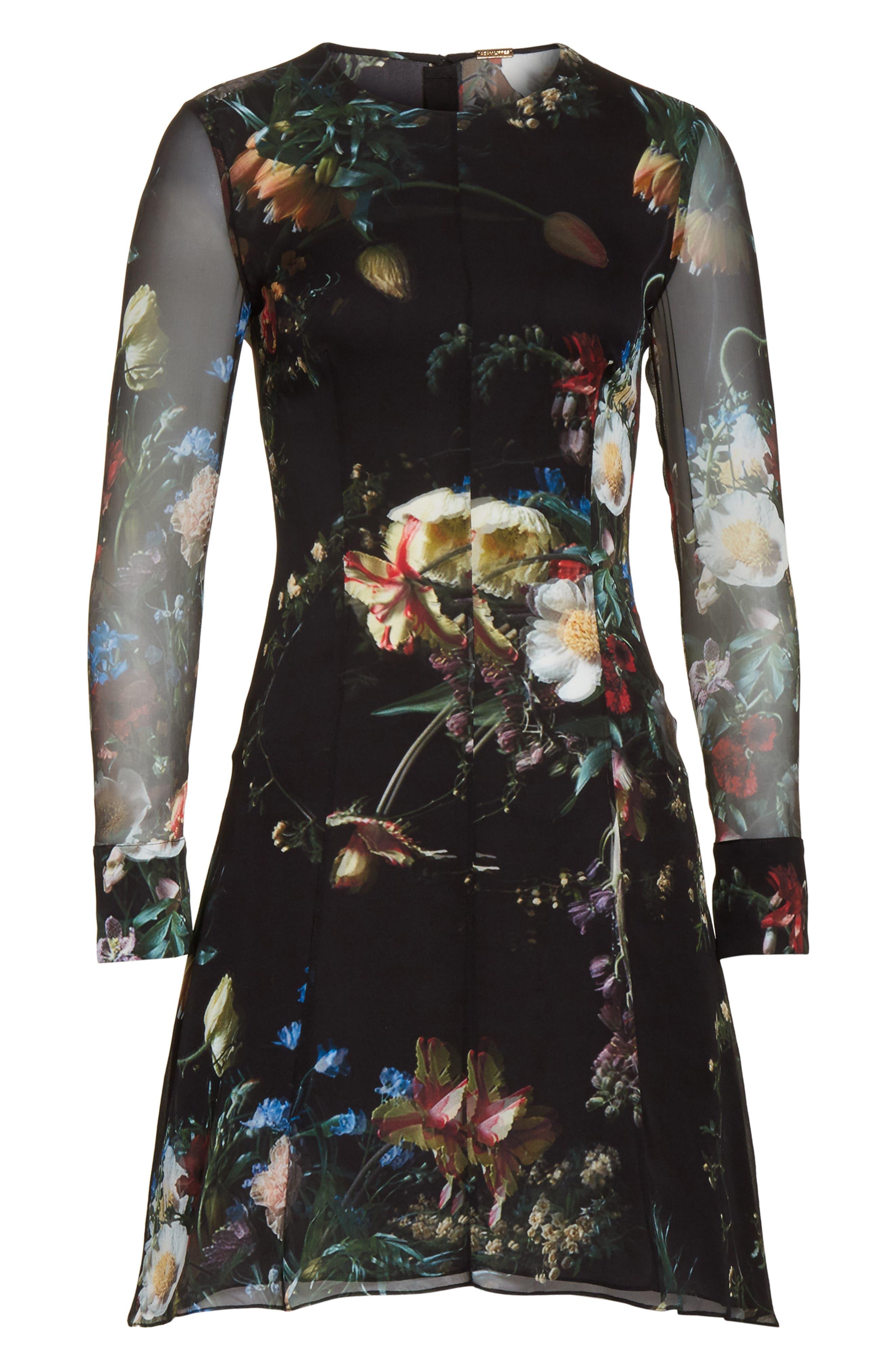 Floral Print Silk Minidress,                             Alternate thumbnail 7, color,                             Black